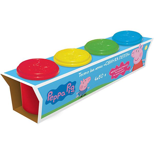 Тесто для лепки Свинка Пеппа (4 банки по 50 г)Тесто для лепки<br>Лепить из волшебного цветного теста «Свинка Пеппа» – одно удовольствие. Оно мягкое, пластичное, не липнет к рукам и не пачкается. Лепите по инструкции фигурку Свинки Пеппы, придумывайте и создавайте свои собственные поделки, фантазируйте, экспериментируйте, смешивайте цвета, развивайте у малышей воображение и мелкую моторику. А полезные советы, размещенные на коробочке, вам помогут в этом.<br>В наборе 4 ярких цвета теста для лепки в баночках по 50 г. Тесто не пригодно для еды! Крышки баночек выполнены из высококачественного пластика в виде формочек с изображением героев мультфильма. Товар сертифицирован и безопасен при использовании по назначению. Упаковка – красочная коробка.<br>Ширина мм: 220; Глубина мм: 53; Высота мм: 63; Вес г: 321; Возраст от месяцев: 36; Возраст до месяцев: 84; Пол: Унисекс; Возраст: Детский; SKU: 5076598;