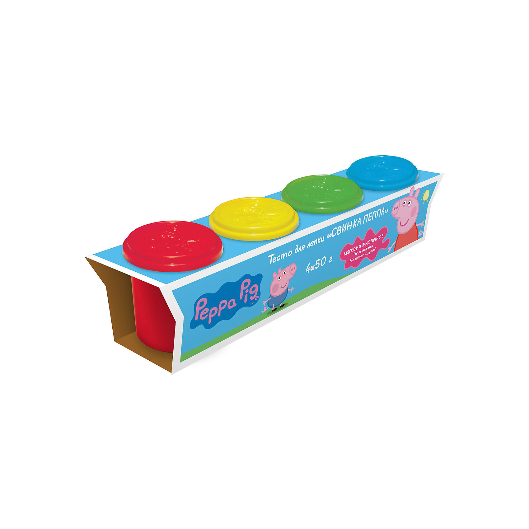 Тесто для лепки Свинка Пеппа (4 банки по 50 г)Лепка<br>Лепить из волшебного цветного теста «Свинка Пеппа» – одно удовольствие. Оно мягкое, пластичное, не липнет к рукам и не пачкается. Лепите по инструкции фигурку Свинки Пеппы, придумывайте и создавайте свои собственные поделки, фантазируйте, экспериментируйте, смешивайте цвета, развивайте у малышей воображение и мелкую моторику. А полезные советы, размещенные на коробочке, вам помогут в этом.&#13;<br>В наборе 4 ярких цвета теста для лепки в баночках по 50 г. Тесто не пригодно для еды! Крышки баночек выполнены из высококачественного пластика в виде формочек с изображением героев мультфильма. Товар сертифицирован и безопасен при использовании по назначению. Упаковка – красочная коробка.<br><br>Ширина мм: 220<br>Глубина мм: 53<br>Высота мм: 63<br>Вес г: 321<br>Возраст от месяцев: 36<br>Возраст до месяцев: 84<br>Пол: Унисекс<br>Возраст: Детский<br>SKU: 5076598