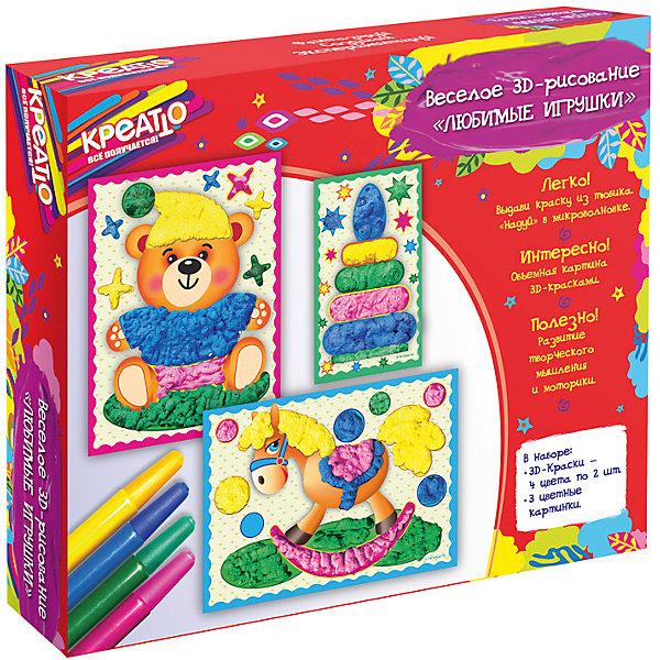 Веселое рисование Любимые игрушки, КРЕАТТОНаборы для раскрашивания<br>Добро пожаловать в творческий мир КРЕАТТО! Создайте вместе с юным художником настоящие 3D-картинки. Для этого рассмотрите рисунок и выберете фрагменты, которые хотите раскрасить. Встряхните тюбик и, выдавливая краску толстыми слоями, рисуйте полосками и точками: чем больше краски, тем объемнее получаются детали. Затем, не дожидаясь высыхания, положите картинку в микроволновую печь на 1 минуту, чтобы краски «надулись». Объемная картинка готова! Такое увлекательное 3D-рисование активно развивает у ребенка творческое мышление, мелкую моторику и цветовосприятие.&#13;<br>Внимание! Работать с микроволновкой должны только взрослые.&#13;<br>В наборе для веселого 3D-рисования «Любимые игрушки» ТМ «КРЕАТТО» 11 предметов: 8 тюбиков с 3D-красками (4 цвета по 2 шт.), 3 цветные картонные картинки (медвежонок, пирамидка и лошадка). Хранить и транспортировать при температуре выше 0 °C. Срок годности: 3 года. Товар сертифицирован. Упаковка – красочная коробка.<br><br>Ширина мм: 220<br>Глубина мм: 195<br>Высота мм: 35<br>Вес г: 178<br>Возраст от месяцев: 60<br>Возраст до месяцев: 108<br>Пол: Унисекс<br>Возраст: Детский<br>SKU: 5076601
