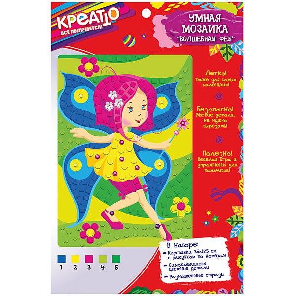 Умная мозаика Волшебная фея 25х17,5 см, КРЕАТТОМозаика детская<br>Характеристики:<br><br>• возраст: от 3 лет<br>• в наборе: картинка размером 25х17,5 см с цветным рисунком по номерам, мягкие самоклеящиеся детали, разноцветные стразы<br>• размер упаковки: 27х17,5х0,5 см.<br>• товар сертифицирован<br><br>Создайте красивую картинку без ножниц и клея. С умной мозаикой «Волшебная фея» это легко и просто даже для малышей. Выдавливайте самоклеящиеся фрагменты мозаики из листа, снимайте с них защитный слой и вклеивайте их в контур рисунка: каждое число на картинке соответствует определенному цвету. <br><br>Благодаря клеевому слою, детали из мягкого, приятного на ощупь материала ЭВА легко приклеиваются и прочно держатся. Затем украсьте картинку блестящими стразами. В результате у вас получится очаровательная картина, которую можно с гордостью поставить на самое видное место или подарить. <br><br>Такая увлекательная работа отлично тренирует у ребенка мелкую моторику и координацию движений, развивает внимание, цветовосприятие, образное и пространственное мышление.<br><br>Набор Умная мозаика Волшебная фея ТМ Креатто можно купить в нашем интернет-магазине.<br><br>Ширина мм: 270<br>Глубина мм: 175<br>Высота мм: 5<br>Вес г: 59<br>Возраст от месяцев: 36<br>Возраст до месяцев: 72<br>Пол: Унисекс<br>Возраст: Детский<br>SKU: 5076607