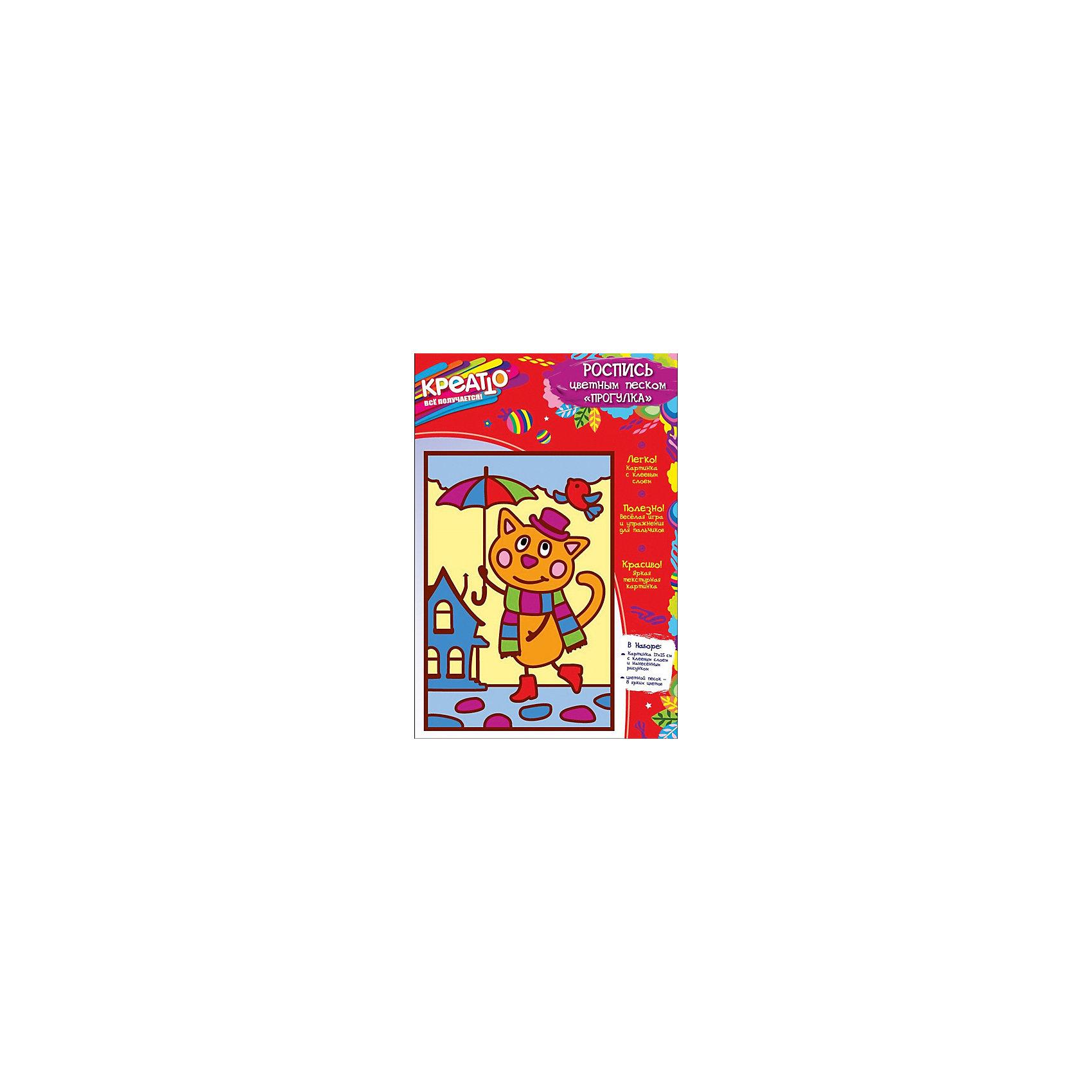 Роспись цветным песком Прогулка 17x25 см, КРЕАТТОДобро пожаловать в творческий мир Креатто! Предложите малышу раскрасить картинку цветным песком. Эта увлекательная игра – отличное упражнение для пальчиков: тренирует тонкую пальцевую моторику и координацию мелких движений, а также развивает внимание и цветовосприятие. Чтобы песком было удобнее пользоваться, высыпьте его в плоские емкости или на листы бумаги, создав своеобразную палитру. Выберите деталь и снимите с нее защитный слой бумаги (контур отклеивать не надо!). Насыпьте песок на клеевую часть и разотрите пальчиком. Оставшийся песок высыпьте обратно в «палитру». Раскрашивайте картинку сверху вниз, смешивайте цвета для получения новых оттенков. И в результате у вас получится красочная текстурная картинка.&#13;<br>В наборе для росписи цветным песком «Прогулка» ТМ «Ктеатто»: картонная основа (17х25 см) с нанесенным рисунком и клеевым слоем, 8 ярких цветов песка в пакетиках по 5 г. Набор изготовлен из картона, бумаги и цветного песка. Товар сертифицирован. 3+. Срок годности – 5 лет.<br><br>Ширина мм: 252<br>Глубина мм: 170<br>Высота мм: 8<br>Вес г: 90<br>Возраст от месяцев: 36<br>Возраст до месяцев: 72<br>Пол: Унисекс<br>Возраст: Детский<br>SKU: 5076613