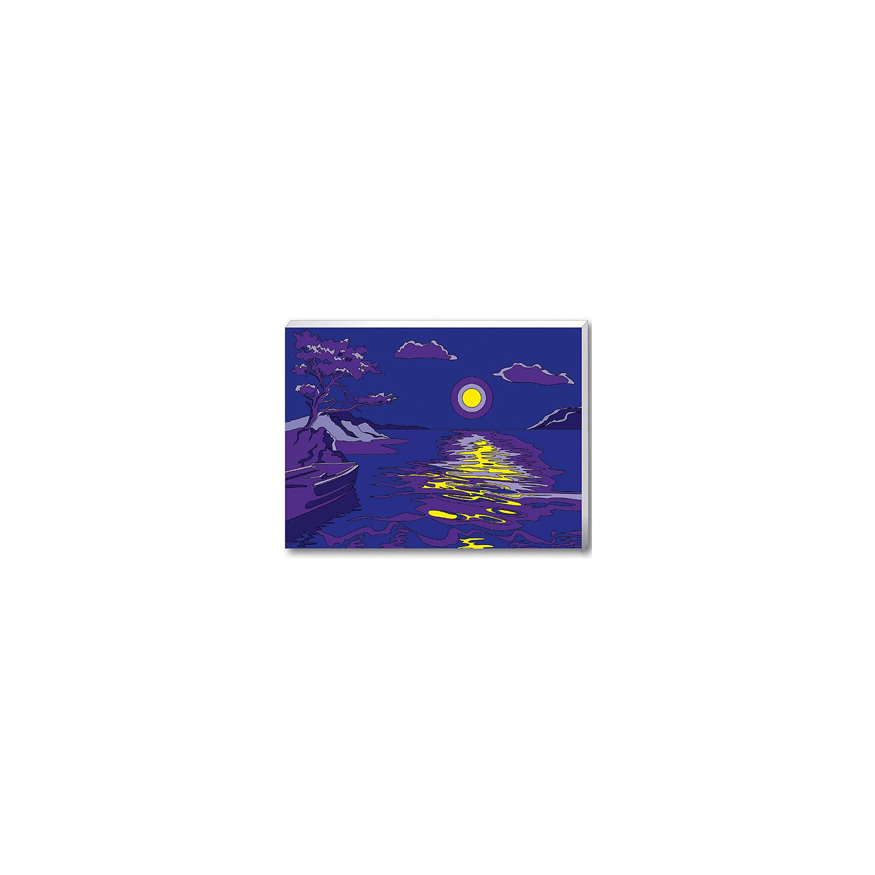 Роспись по номерам Лунная соната 30х40 см, КРЕАТТОДобро пожаловать в мир КРЕАТТО! Создать романтичную картину «Лунная соната» из серии «Пейзажи» сможет любой человек от 7 до 99 лет, даже не умеющий рисовать. Нужно просто раскрасить пронумерованные фрагменты рисунка пронумерованными красками, которые отлично закрашивают все контуры. А если вдруг появится ошибка, то исправить ее поможет контрольная схема рисунка. Раскрашивание холста увлекательно и для детей, и для взрослых. А получившаяся картина с блестящей лунной дорожкой станет эффектным украшением интерьера. &#13;<br>В наборе для росписи холста по номерам: холст размером 30х40 см с контурным рисунком, натянутый на деревянную рамку, 6 цветов акриловых красок в металлических тубах, краска с блестками, палитра, 2 кисточки, крепежные петли для подвешивания холста, контрольная схема рисунка. Акриловые краски легко ложатся на холст, быстро сохнут, хорошо растворяются в воде, после высыхания становятся водонепроницаемыми. Товар сертифицирован. Возраст: 7+. Срок годности: 3 года.<br><br>Ширина мм: 300<br>Глубина мм: 400<br>Высота мм: 15<br>Вес г: 395<br>Возраст от месяцев: 36<br>Возраст до месяцев: 72<br>Пол: Унисекс<br>Возраст: Детский<br>SKU: 5076616