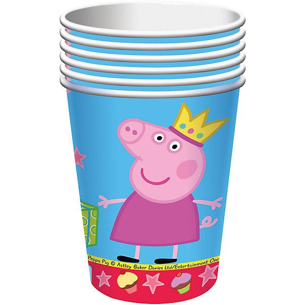 Стакан Пеппа Принцесса 220 мл, 6 шт, Свинка ПеппаСтаканы<br>Красивые и практичные стаканы Пеппа-принцесса с героями любимого мультфильма Свинка Пеппа преобразят любой детский праздник: они ярко украсят стол и привлекут внимание всех участников торжества. А главное, одноразовые бумажные стаканы прекрасно удерживают напитки, почти невесомы, не могут разбиться, их не надо мыть.<br>В наборе Пеппа-принцесса ТМ Свинка Пеппа 6 бумажных стаканов объемом 220 мл, декорированных привлекательным принтом. Вы также можете выбрать другие товары из данной серии: тарелки, салфетки, язычки, колпаки, подарочный набор посуды, свечи, приглашение в конверте, скатерть, маски, подарочные пакеты и др.<br>Ширина мм: 75; Глубина мм: 52; Высота мм: 125; Вес г: 36; Возраст от месяцев: 36; Возраст до месяцев: 108; Пол: Унисекс; Возраст: Детский; SKU: 5076623;