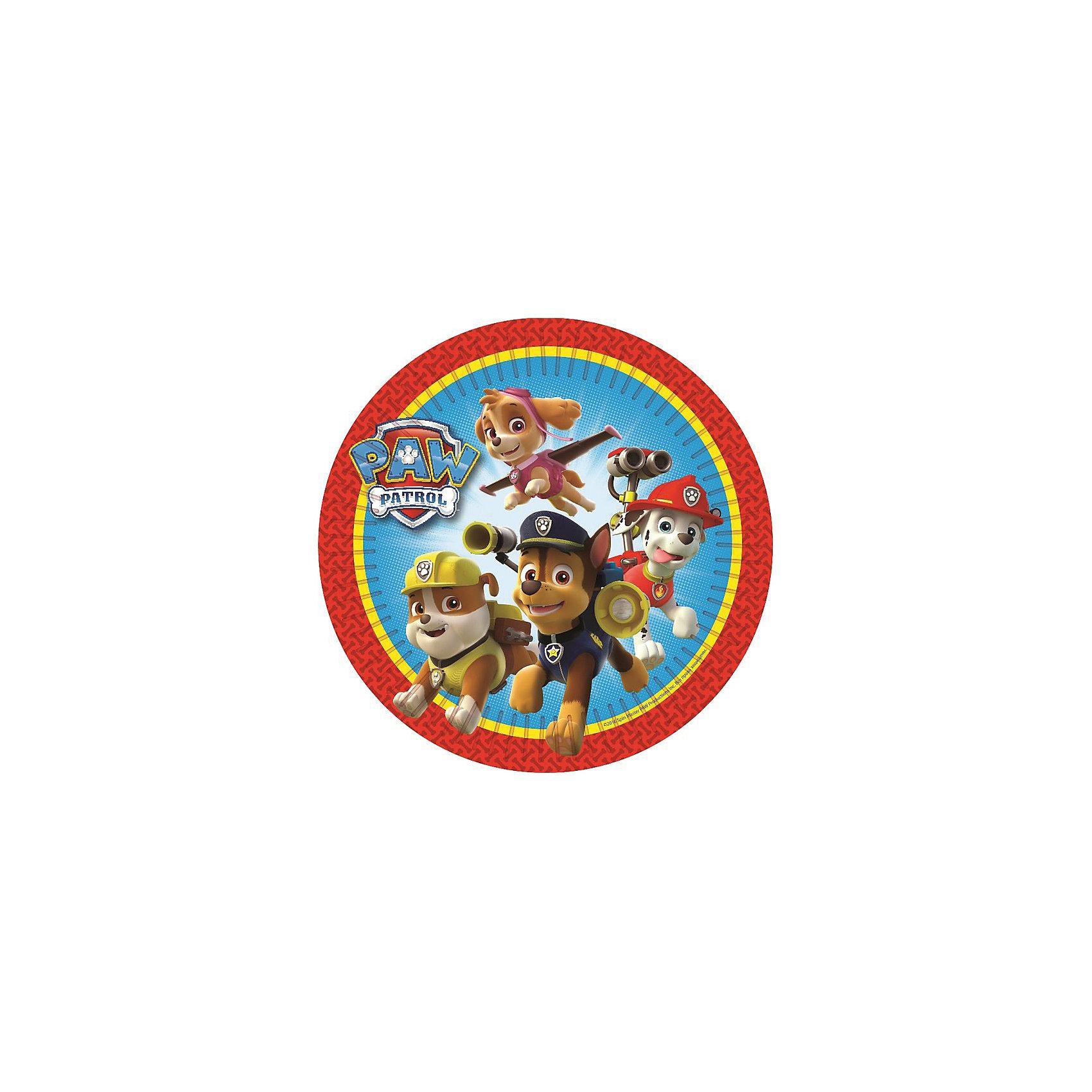 Тарелка Щенячий патруль 23 см, 6 штВсё для праздника<br>Яркие и практичные тарелки с веселыми героями мультфильма Щенячий патруль эффектно украсят стол и порадуют всех участников торжества. А самое главное, одноразовые бумажные тарелки прекрасно удерживают еду, благодаря глянцевому ламинированию; они почти невесомы, не могут разбиться и поранить детей, их не надо мыть.&#13;<br>В наборе Щенячий патруль 6 бумажных тарелок диаметром 23 см, декорированных привлекательным принтом. Вы также можете выбрать другие товары из данной серии: стаканы, салфетки, язычки, колпаки, подарочный набор посуды, свечи, приглашение в конверте, скатерть, маски, подарочные пакеты и др.<br><br>Ширина мм: 230<br>Глубина мм: 230<br>Высота мм: 7<br>Вес г: 90<br>Возраст от месяцев: 36<br>Возраст до месяцев: 108<br>Пол: Унисекс<br>Возраст: Детский<br>SKU: 5076624