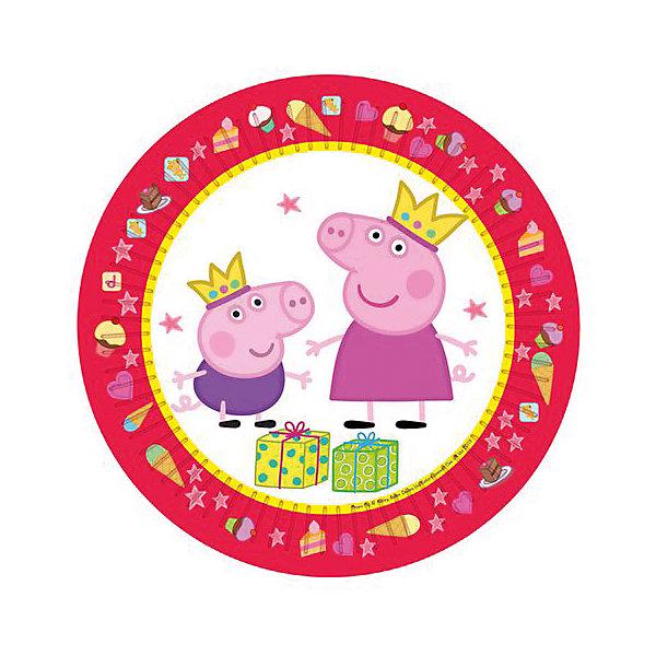 Тарелка Пеппа Принцесса 23 см, 6 шт, Свинка ПеппаТарелки<br>Яркие и практичные тарелки Пеппа-принцесса с очаровательными героями мультфильма Свинка Пеппа эффектно украсят стол и порадуют всех участников торжества. А самое главное, одноразовые бумажные тарелки прекрасно удерживают еду, благодаря глянцевому ламинированию; они почти невесомы, не могут разбиться и поранить детей, их не надо мыть.<br>В наборе 6 бумажных тарелок диаметром 23 см, декорированных привлекательным принтом. Вы также можете выбрать другие товары из данной серии: стаканы, салфетки, язычки, колпаки, подарочный набор посуды, свечи, приглашение в конверте, скатерть, маски, подарочные пакеты и др.<br>Ширина мм: 230; Глубина мм: 230; Высота мм: 7; Вес г: 90; Возраст от месяцев: 36; Возраст до месяцев: 108; Пол: Унисекс; Возраст: Детский; SKU: 5076626;