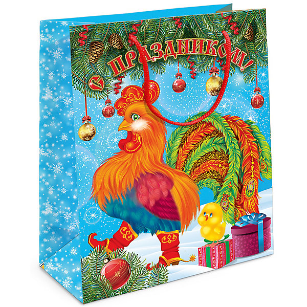 Подарочный пакет Петух 230*180*100 ммУпаковка новогоднего подарка<br>Подарочный бумажный пакет «Петух» с очаровательным символом 2017 года празднично украсит подарок и создаст новогоднее настроение. Размер: 23х18х10 см. В ассортименте вы сможете найти такой же пакет размером 35х25х9 см.<br><br>Ширина мм: 230<br>Глубина мм: 180<br>Высота мм: 3<br>Вес г: 40<br>Возраст от месяцев: 36<br>Возраст до месяцев: 2147483647<br>Пол: Унисекс<br>Возраст: Детский<br>SKU: 5076630