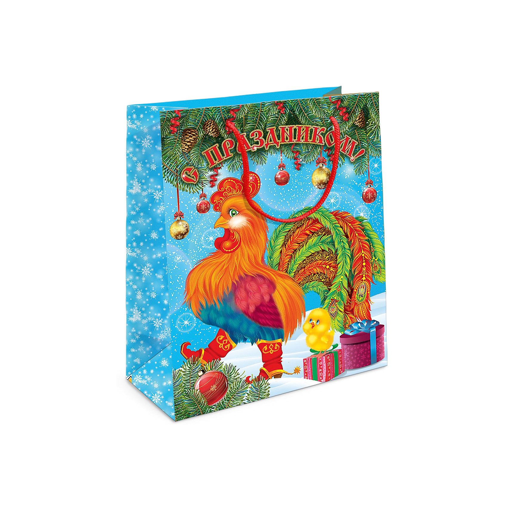 Подарочный пакет Петух 230*180*100 ммПодарочный бумажный пакет «Петух» с очаровательным символом 2017 года празднично украсит подарок и создаст новогоднее настроение. Размер: 23х18х10 см. В ассортименте вы сможете найти такой же пакет размером 35х25х9 см.<br><br>Ширина мм: 230<br>Глубина мм: 180<br>Высота мм: 3<br>Вес г: 40<br>Возраст от месяцев: 36<br>Возраст до месяцев: 2147483647<br>Пол: Унисекс<br>Возраст: Детский<br>SKU: 5076630