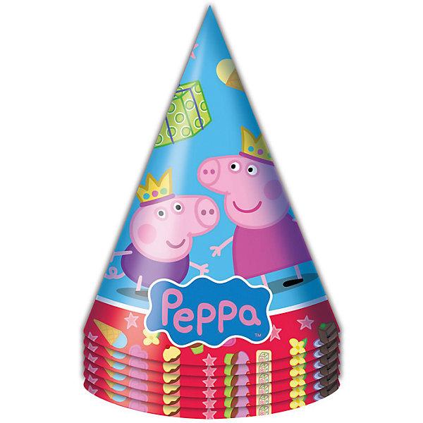 Колпачок Пеппа Принцесса 6 шт, Свинка ПеппаДетские шляпы и колпаки<br>Бумажные колпачки с очаровательными героями мультфильма Свинка Пеппа ярко и весело украсят всех гостей детского праздника, поднимут всем настроение и помогут устроить множество забавных игр. А чтобы оформить торжество в едином стиле, вы также можете выбрать из данной серии бумажные стаканы, тарелки, дудочки, язычки, салфетки, полиэтиленовую скатерть, свечи, хлопушку и другое.<br>В наборе Пеппа-принцесса ТМ Свинка Пеппа 6 бумажных колпаков на резинках с ярким, привлекательным принтом. Товар сертифицирован. Упаковка - пакет с хедером.<br>Ширина мм: 100; Глубина мм: 100; Высота мм: 165; Вес г: 50; Возраст от месяцев: 36; Возраст до месяцев: 108; Пол: Унисекс; Возраст: Детский; SKU: 5076634;