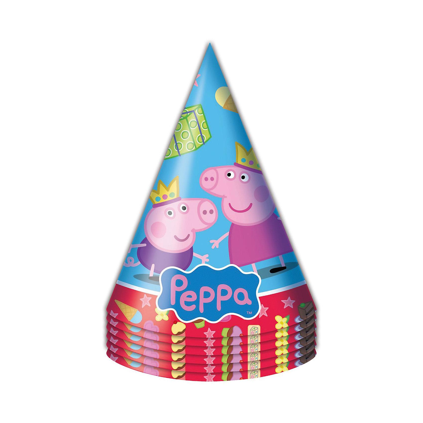 Колпачок Пеппа Принцесса 6 шт, Свинка ПеппаВсё для праздника<br>Бумажные колпачки с очаровательными героями мультфильма Свинка Пеппа ярко и весело украсят всех гостей детского праздника, поднимут всем настроение и помогут устроить множество забавных игр. А чтобы оформить торжество в едином стиле, вы также можете выбрать из данной серии бумажные стаканы, тарелки, дудочки, язычки, салфетки, полиэтиленовую скатерть, свечи, хлопушку и другое.&#13;<br>В наборе Пеппа-принцесса ТМ Свинка Пеппа 6 бумажных колпаков на резинках с ярким, привлекательным принтом. Товар сертифицирован. Упаковка - пакет с хедером.<br><br>Ширина мм: 100<br>Глубина мм: 100<br>Высота мм: 165<br>Вес г: 50<br>Возраст от месяцев: 36<br>Возраст до месяцев: 108<br>Пол: Унисекс<br>Возраст: Детский<br>SKU: 5076634