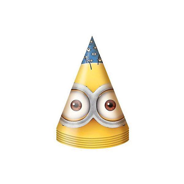 Колпачок Миньоны 6 штДетские шляпы и колпаки<br>Бумажные колпачки с очаровательными героями мультфильма Миньоны ярко и весело украсят всех гостей детского праздника, поднимут всем настроение и помогут устроить множество забавных игр. А чтобы оформить торжество в едином стиле, вы также можете выбрать из данной серии бумажные стаканы, тарелки, дудочки, язычки, салфетки, полиэтиленовую скатерть, свечи, хлопушку и другое.<br>В наборе Миньоны 6 бумажных колпаков на резинках с ярким, привлекательным принтом. Товар сертифицирован. Упаковка - пакет с хедером.<br><br>Ширина мм: 100<br>Глубина мм: 100<br>Высота мм: 165<br>Вес г: 50<br>Возраст от месяцев: 36<br>Возраст до месяцев: 108<br>Пол: Унисекс<br>Возраст: Детский<br>SKU: 5076635