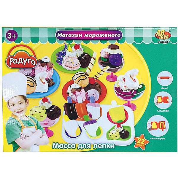 Набор Масса для лепки Магазин мороженогоНаборы для лепки<br>Масса для лепки Магазин мороженого (22 предмета), Радуга<br><br>Характеристика:<br><br>-В набор входит 22 предмета<br>-6 баночек пластилина  разных цветов<br>-1 креманка (чаша+ножка)<br>-аксессуары <br>-Состав: пластилин, пластмасса <br>-Возраст: от 3 лет<br>-Производитель: MERX Limited<br><br>Пластилин поможет ребенку развить мелкую моторику рук, воображение и фантазию. Масса для лепки Радуга с легкостью будет принимать любую форму, благодаря мягкой текстуре. В комплект входит множество аксессуаров. Ребёнок сможет сам слепить любое мороженое. <br><br>Массу для лепки Магазин мороженого (22 предмета), Радуга можно приобрести в нашем интернет-магазине.<br>Ширина мм: 370; Глубина мм: 265; Высота мм: 70; Вес г: 889; Возраст от месяцев: 36; Возраст до месяцев: 144; Пол: Унисекс; Возраст: Детский; SKU: 5078253;