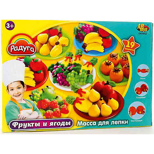 Набор Масса для лепки Фрукты и ягодыНаборы для лепки<br>Масса для лепки Фрукты и ягоды (19 предметов), Радуга<br><br>Характеристика:<br><br>-В набор входит 19 предметов:<br>-6 баночек пластилина  разных цветов<br>-аксессуары <br>-Состав: пластилин, пластмасса <br>-Возраст: от 3 лет<br>-Производитель: MERX Limited<br><br>Пластилин поможет ребенку развить мелкую моторику рук, воображение и фантазию. Масса для лепки Радуга с легкостью будет принимать любую форму, благодаря мягкой текстуре. В комплект входит множество аксессуаров. Ребёнок сможет сам слепить различные фрукты.<br><br>Массу для лепки Фрукты и ягоды (19 предметов), Радуга можно приобрести в нашем интернет-магазине.<br>Ширина мм: 370; Глубина мм: 265; Высота мм: 70; Вес г: 889; Возраст от месяцев: 36; Возраст до месяцев: 144; Пол: Унисекс; Возраст: Детский; SKU: 5078254;
