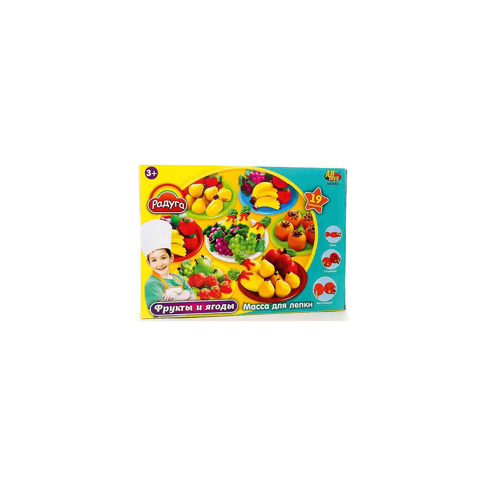 Набор Масса для лепки Фрукты и ягодыМасса для лепки Фрукты и ягоды (19 предметов), Радуга<br><br>Характеристика:<br><br>-В набор входит 19 предметов:<br>-6 баночек пластилина  разных цветов<br>-аксессуары <br>-Состав: пластилин, пластмасса <br>-Возраст: от 3 лет<br>-Производитель: MERX Limited<br><br>Пластилин поможет ребенку развить мелкую моторику рук, воображение и фантазию. Масса для лепки Радуга с легкостью будет принимать любую форму, благодаря мягкой текстуре. В комплект входит множество аксессуаров. Ребёнок сможет сам слепить различные фрукты.<br><br>Массу для лепки Фрукты и ягоды (19 предметов), Радуга можно приобрести в нашем интернет-магазине.<br><br>Ширина мм: 370<br>Глубина мм: 265<br>Высота мм: 70<br>Вес г: 889<br>Возраст от месяцев: 36<br>Возраст до месяцев: 144<br>Пол: Унисекс<br>Возраст: Детский<br>SKU: 5078254