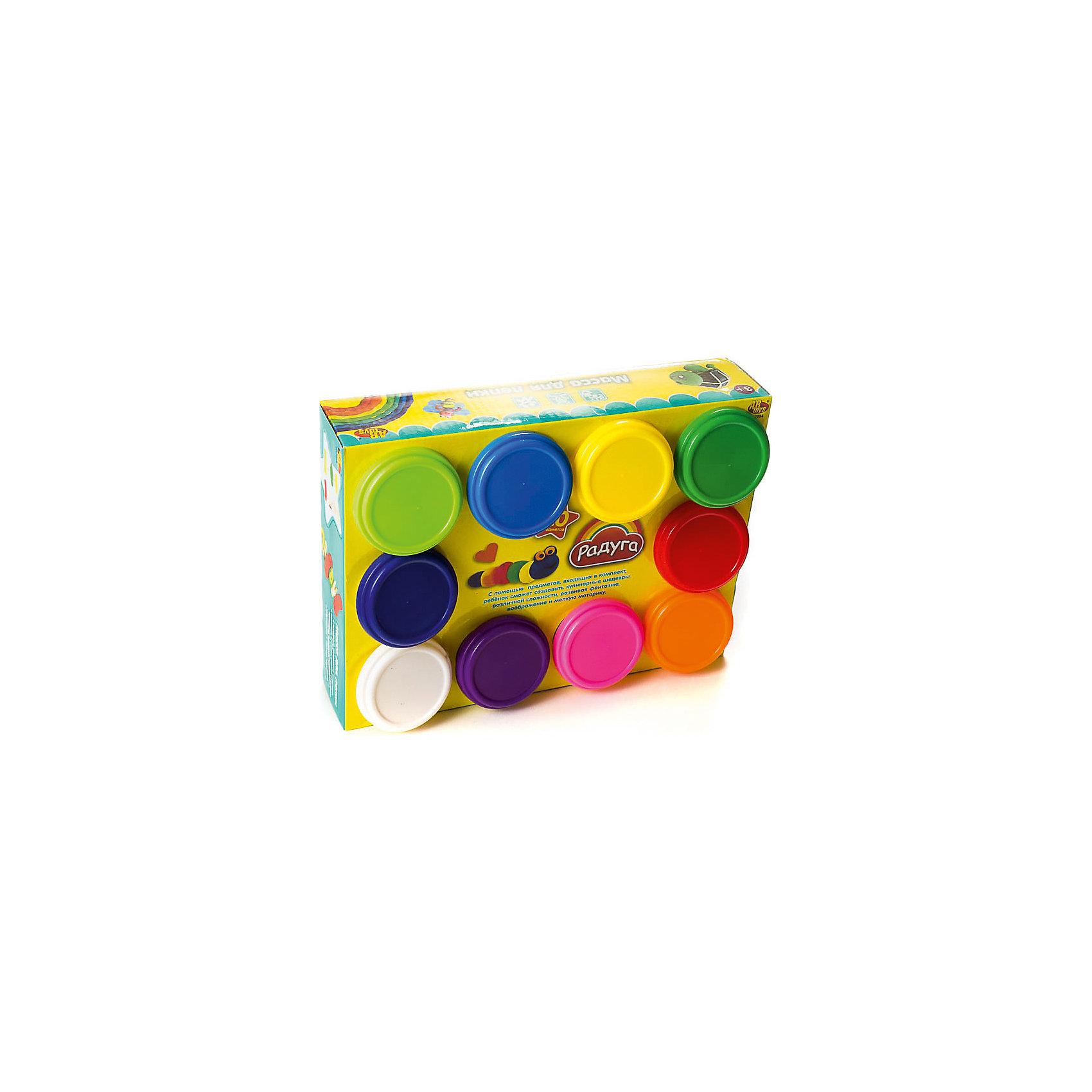 Набор Масса для лепки (10 разноцветных баночек)Наборы для лепки<br>Масса для лепки, 10 баночек, Радуга<br><br>Характеристика:<br><br>-10 разноцветных баночек с массой для лепки<br>-Состав: пластилин, пластмасса <br>-Возраст: от 3 лет<br>-Производитель: MERX Limited<br><br>Масса для лепки поможет вашему ребёнку развить мелкую моторику рук, воображение и фантазию. Благодаря мягкой текстуре, масса будет с легкостью принимать любую форму. с Помощью такого набора ребёнок сможет не ограничивать свое воображение и слепить все, что ему захочется.<br><br>Масса для лепки, 10 баночек, Радуга можно приобрести в нашем интернет-магазине.<br><br>Ширина мм: 250<br>Глубина мм: 190<br>Высота мм: 60<br>Вес г: 750<br>Возраст от месяцев: 36<br>Возраст до месяцев: 144<br>Пол: Унисекс<br>Возраст: Детский<br>SKU: 5078257