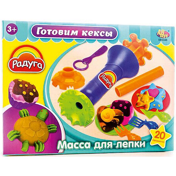 Набор Масса для лепки Готовим кексыНаборы для лепки<br>Масса для лепки Готовим кексы (20 предметов), Радуга<br><br>Характеристика:<br><br>-В набор входит 20 предметов:<br>-4 разноцветные баночки с массой для лепки<br>-тематические аксессуары <br>-Состав: пластилин, пластмасса <br>-Возраст: от 3 лет<br>-Производитель: MERX Limited<br><br>Масса для лепки поможет вашему ребёнку развить мелкую моторику рук, воображение и фантазию. Благодаря мягкой текстуре, масса будет с легкостью принимать любую форму. С помощью тематических аксессуаров ребёнок сможет слепить множество различных сладостей.<br><br>Масса для лепки Готовим кексы (20 предметов), Радуга можно приобрести в нашем интернет-магазине.<br><br>Ширина мм: 240<br>Глубина мм: 180<br>Высота мм: 60<br>Вес г: 313<br>Возраст от месяцев: 36<br>Возраст до месяцев: 144<br>Пол: Женский<br>Возраст: Детский<br>SKU: 5078258
