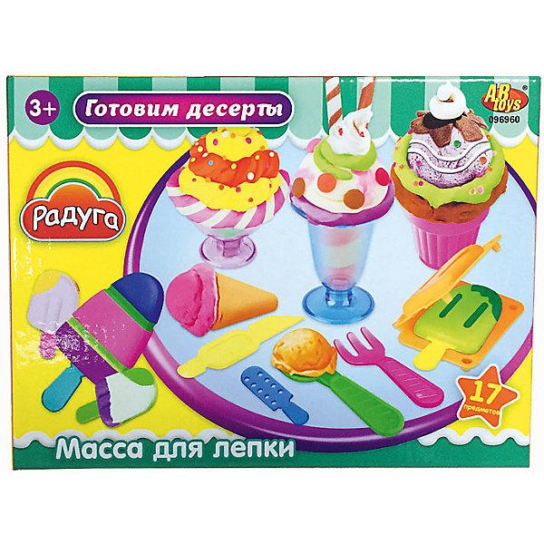 Набор Масса для лепки Готовим десертыНаборы для лепки<br>Масса для лепки Готовим десерты (17 предметов), Радуга<br><br>Характеристика:<br><br>-В набор входит 17 предметов:<br>-4 разноцветные баночки с массой для лепки<br>-тематические аксессуары <br>-Состав: пластилин, пластмасса <br>-Возраст: от 3 лет<br>-Производитель: MERX Limited<br><br>Масса для лепки Готовим десерты - это отличное решение для развлечения ребёнка. Лепка влияет на развитие моторики рук, воображения и фантазии. С помощью тематических аксессуаров ребёнок сможет изготовить сладкие и аппетитные десерты. Вместе с массой для лепки Готовим десерты ваш ребёнок испытает много положительных эмоций.<br><br>Масса для лепки Готовим десерты (17 предметов), Радуга можно приобрести в нашем интернет-магазине.<br><br>Ширина мм: 240<br>Глубина мм: 18<br>Высота мм: 60<br>Вес г: 313<br>Возраст от месяцев: 36<br>Возраст до месяцев: 144<br>Пол: Женский<br>Возраст: Детский<br>SKU: 5078261