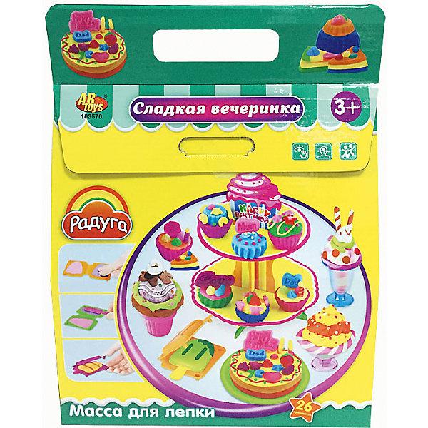 Набор Масса для лепки  Сладкая вечеринкаМасса для лепки<br>Масса для лепки Сладкая вечеринка (26 предметов), Радуга<br><br>Характеристика:<br><br>-В набор входит 26 предметов:<br>-4 разноцветные баночки с массой для лепки<br>-тематические аксессуары<br>-Состав: пластилин, пластмасса <br>-Возраст: от 3 лет<br>-Производитель: MERX Limited<br><br>Благодаря мягкой текстуре массы для лепки, ребёнку будет не трудно создавать разные фигурки. Лепка влияет на развитие моторики рук, воображения и фантазии. С помощью тематических аксессуаров ребёнок сможет создать много разных сладостей: леденцы,тортики,пироженые и многие другие. Масса для лепки Сладкая вечеринка подарить ребёнку много положительных эмоций.<br><br>Масса для лепки Сладкая вечеринка (26 предметов), Радуга можно приобрести в нашем интернет-магазине.<br>Ширина мм: 335; Глубина мм: 280; Высота мм: 100; Вес г: 646; Возраст от месяцев: 36; Возраст до месяцев: 144; Пол: Женский; Возраст: Детский; SKU: 5078264;