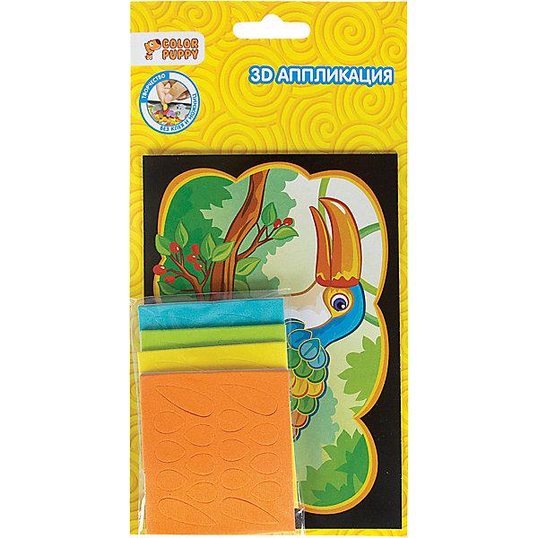 Набор для творчества 3D аппликация, в ассортиментеБумага<br>Характеристики товара:<br><br>• материал: бумага, полимерные материалы<br>• комплектация: 1 цветная картинка, 4 листа с высеченными формами из EVA<br>• размер упаковки: 12х1х22 см<br>• упаковка: блистер на картоне<br>• возраст: от 6 лет<br>• для творчества<br>• страна бренда: Китай<br>• страна производства: Тайвань<br><br>Такой набор станет отличным подарком ребенку! Творчество - удачный способ занять детей. Это не только занимательно, но и очень полезно! С помощью такого набора ребенок сможет сам создать изображения с помощью цветных шаблонов. Нужно всего лишь следовать инструкции! Это несложно и увлекательно - всё необходимое есть в наборе. <br>Такое занятие помогает детям развивать многие важные навыки и способности: они тренируют внимание, память, логику, мышление, мелкую моторику, творческие способности, а также усидчивость и аккуратность. Изделие производится из качественных сертифицированных материалов, безопасных даже для самых маленьких.<br><br>Набор для творчества 3D аппликация, в ассортименте от бренда Color Puppy можно купить в нашем интернет-магазине.<br><br>Ширина мм: 115<br>Глубина мм: 215<br>Высота мм: 10<br>Вес г: 39<br>Возраст от месяцев: 36<br>Возраст до месяцев: 108<br>Пол: Унисекс<br>Возраст: Детский<br>SKU: 5078343
