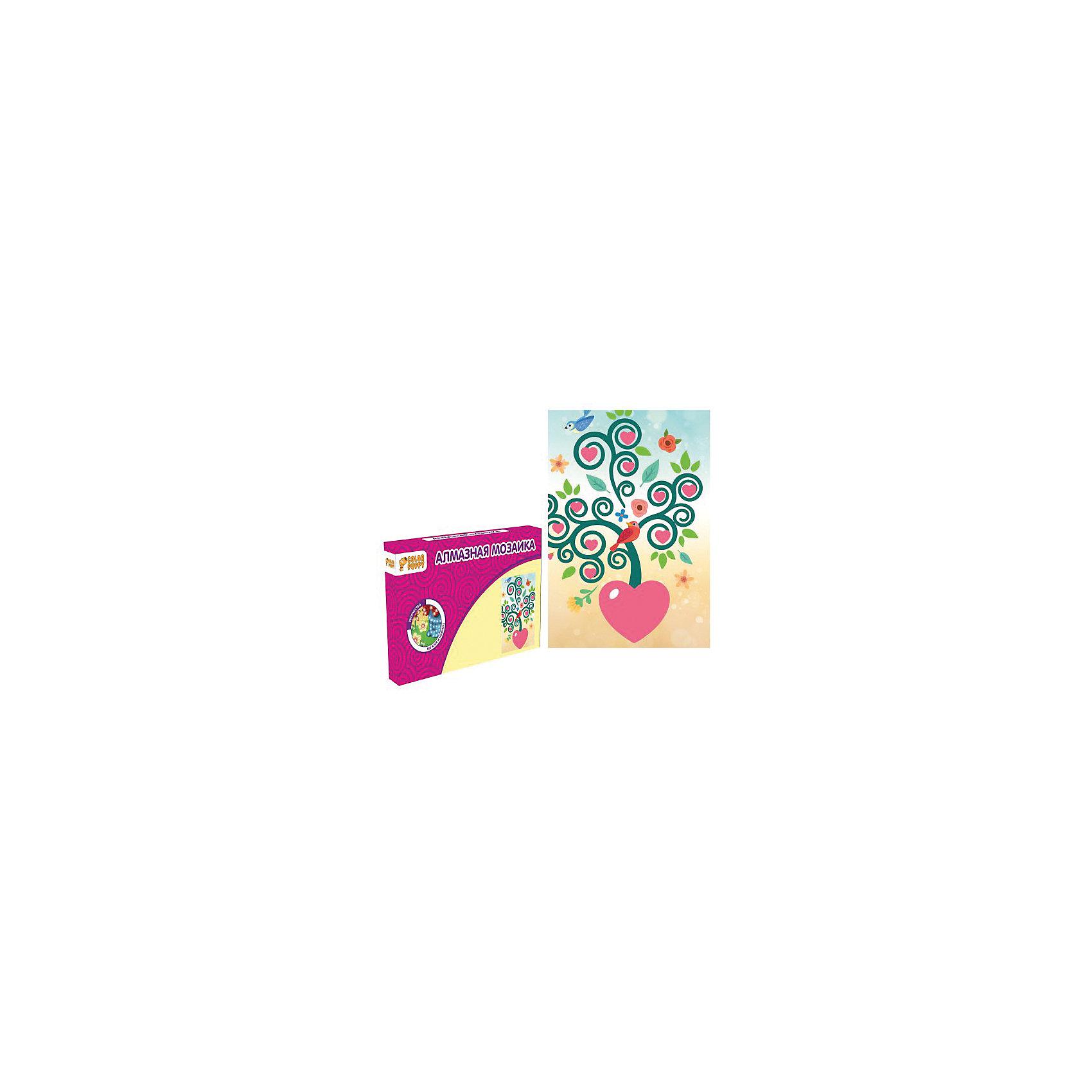 Набор для творчества Алмазная мозаика «Дерево счастья»В наборе: Картонная основа 10х15 см, подставка, стразы, емкость для страз, карандаш<br><br>Ширина мм: 165<br>Глубина мм: 105<br>Высота мм: 20<br>Вес г: 77<br>Возраст от месяцев: 36<br>Возраст до месяцев: 108<br>Пол: Унисекс<br>Возраст: Детский<br>SKU: 5078344