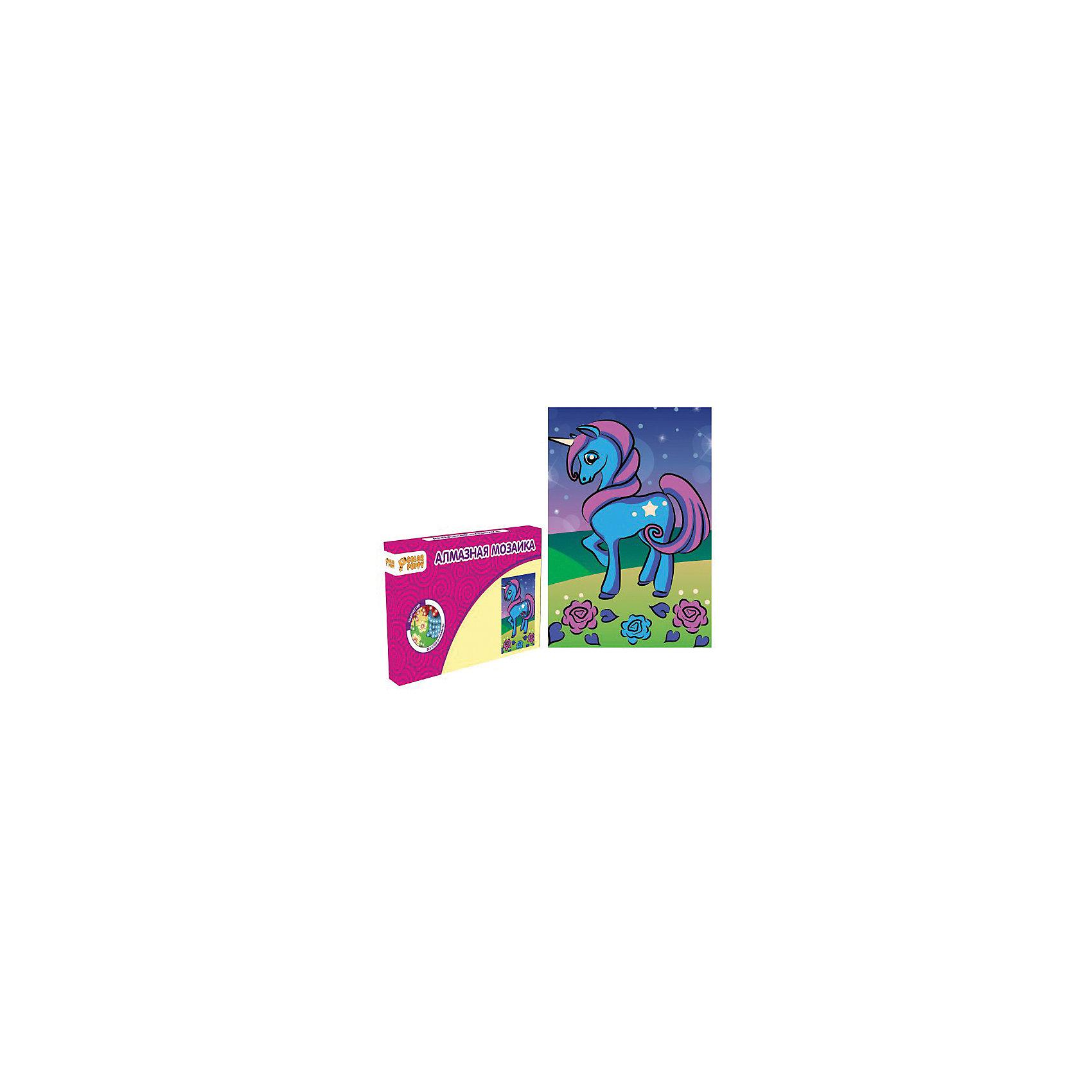 Набор для творчества Алмазная мозаика «Лошадка»Мозаика<br>Характеристики товара:<br><br>• материал: картон, полимерные материалы<br>• комплектация: картонная основа, подставка, стразы, емкость для страз, карандаш<br>• размер упаковки: 17х11х2 см<br>• упаковка: картонная коробка.<br>• возраст: от 5 лет<br>• для творчества<br>• страна бренда: Китай<br>• страна производства: Тайвань<br><br>Этот набор станет отличным подарком ребенку! Творчество - удачный способ занять детей. Это не только занимательно, но и очень полезно! С помощью набора ребенок сможет сам создать красивую картину - нужно всего лишь следовать инструкции! Это несложно и увлекательно, достаточно нанести небольшие стразы на рисунок - всё необходимое есть в наборе. Готовое изделие может стать подарком от ребенка на праздник для близких и родственников!<br>Такое занятие помогает детям развивать многие важные навыки и способности: они тренируют внимание, память, логику, мышление, мелкую моторику, творческие способности, а также усидчивость и аккуратность. Изделие производится из качественных сертифицированных материалов, безопасных даже для самых маленьких.<br><br>Набор для творчества Алмазная мозаика «Лошадка» от бренда Color Puppy можно купить в нашем интернет-магазине.<br><br>Ширина мм: 165<br>Глубина мм: 105<br>Высота мм: 20<br>Вес г: 81<br>Возраст от месяцев: 36<br>Возраст до месяцев: 108<br>Пол: Женский<br>Возраст: Детский<br>SKU: 5078347