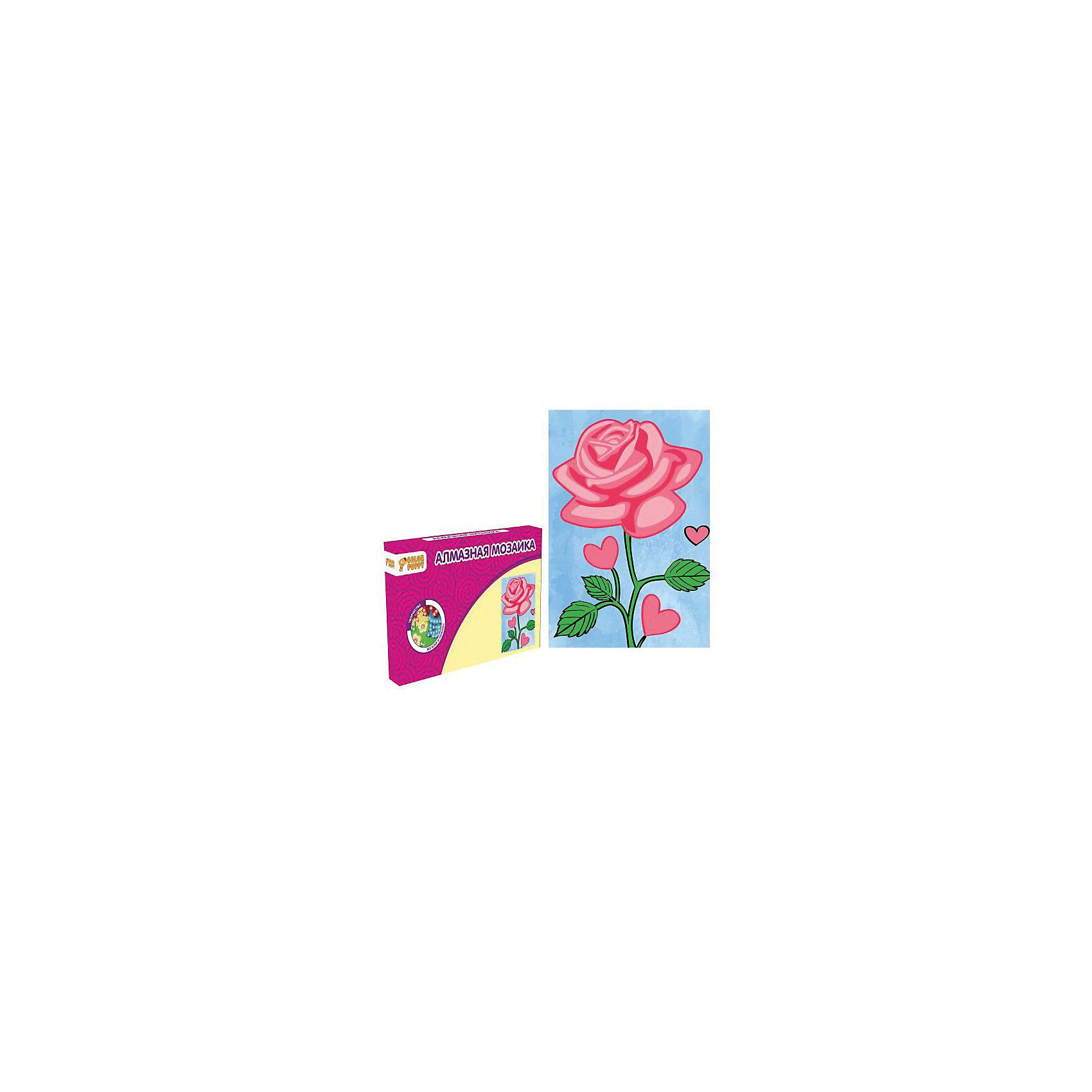 Набор для творчества Алмазная мозаика «Роза»Мозаика<br>В наборе: Картонная основа 10х15 см, подставка, стразы, емкость для страз, карандаш<br><br>Ширина мм: 165<br>Глубина мм: 105<br>Высота мм: 20<br>Вес г: 86<br>Возраст от месяцев: 36<br>Возраст до месяцев: 108<br>Пол: Унисекс<br>Возраст: Детский<br>SKU: 5078349