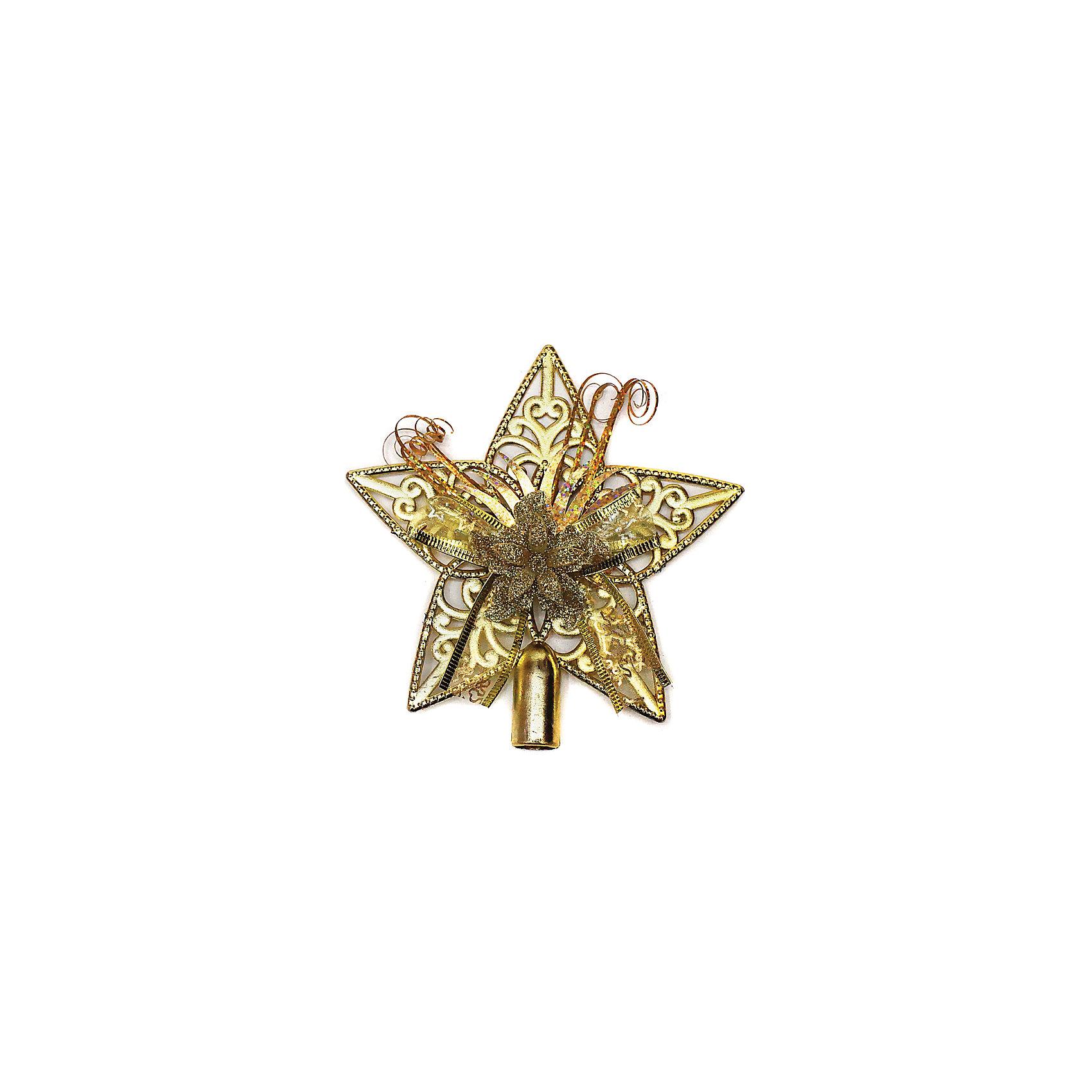 Макушка на елку 15 см, золотоДекоративное елочное украшение из пластмассы. Классический наконечник в виде звезды с декоративными текстильными элементами, надевается на макушку елки. Высота наконечника — 15 см. Придаст законченность и изысканный шарм любому елочному наряду.<br><br>Ширина мм: 150<br>Глубина мм: 190<br>Высота мм: 20<br>Вес г: 24<br>Возраст от месяцев: 36<br>Возраст до месяцев: 420<br>Пол: Унисекс<br>Возраст: Детский<br>SKU: 5078423