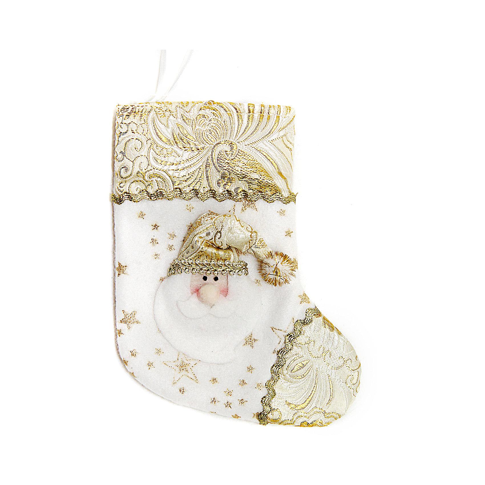 Подарочный носок 18 см, золотоПодарочный носок золотого цвета украсит ваш интерьер и придаст ему новогоднее настроение.Размер носка 18 см.<br><br>Ширина мм: 135<br>Глубина мм: 180<br>Высота мм: 20<br>Вес г: 12<br>Возраст от месяцев: 36<br>Возраст до месяцев: 420<br>Пол: Унисекс<br>Возраст: Детский<br>SKU: 5078429