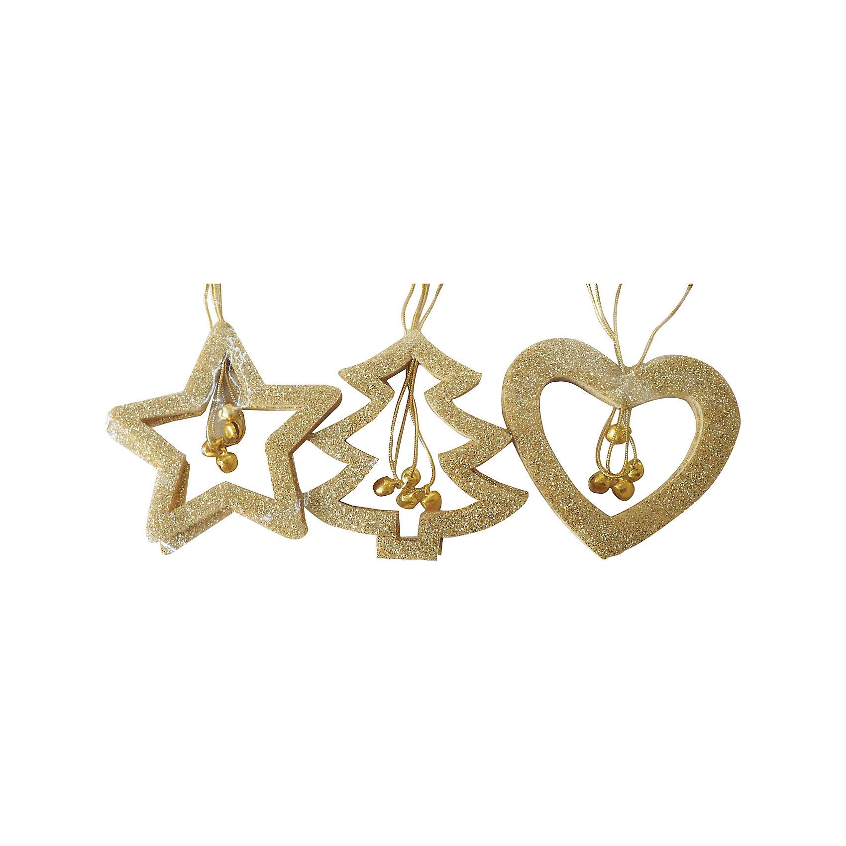 Набор  подвесок 7 см, 6 шт, золотоНабор подвесок золотого цвета украсит ваш интерьер и придаст ему новогоднее настроение.Размер подвески 7 см.В наборе 6 шт<br><br>Ширина мм: 200<br>Глубина мм: 140<br>Высота мм: 10<br>Вес г: 18<br>Возраст от месяцев: 36<br>Возраст до месяцев: 420<br>Пол: Унисекс<br>Возраст: Детский<br>SKU: 5078431