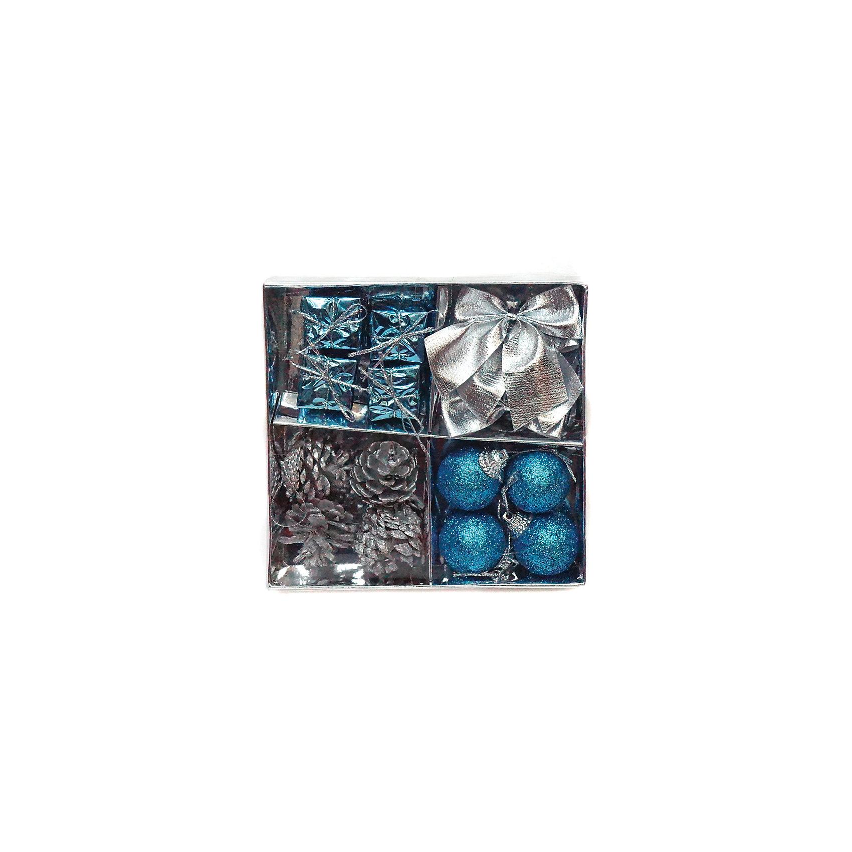 Набор елочных украшений 3 см, 16 штВсё для праздника<br>Набор декоративных елочных украшений. В набор входят разные виды украшений: шары, банты, шишки и подвески в виде подарков. Всего в наборе 16 игрушек. Цветовая гамма: серебряная и голубая.<br><br>Ширина мм: 130<br>Глубина мм: 135<br>Высота мм: 25<br>Вес г: 54<br>Возраст от месяцев: 36<br>Возраст до месяцев: 420<br>Пол: Унисекс<br>Возраст: Детский<br>SKU: 5078434