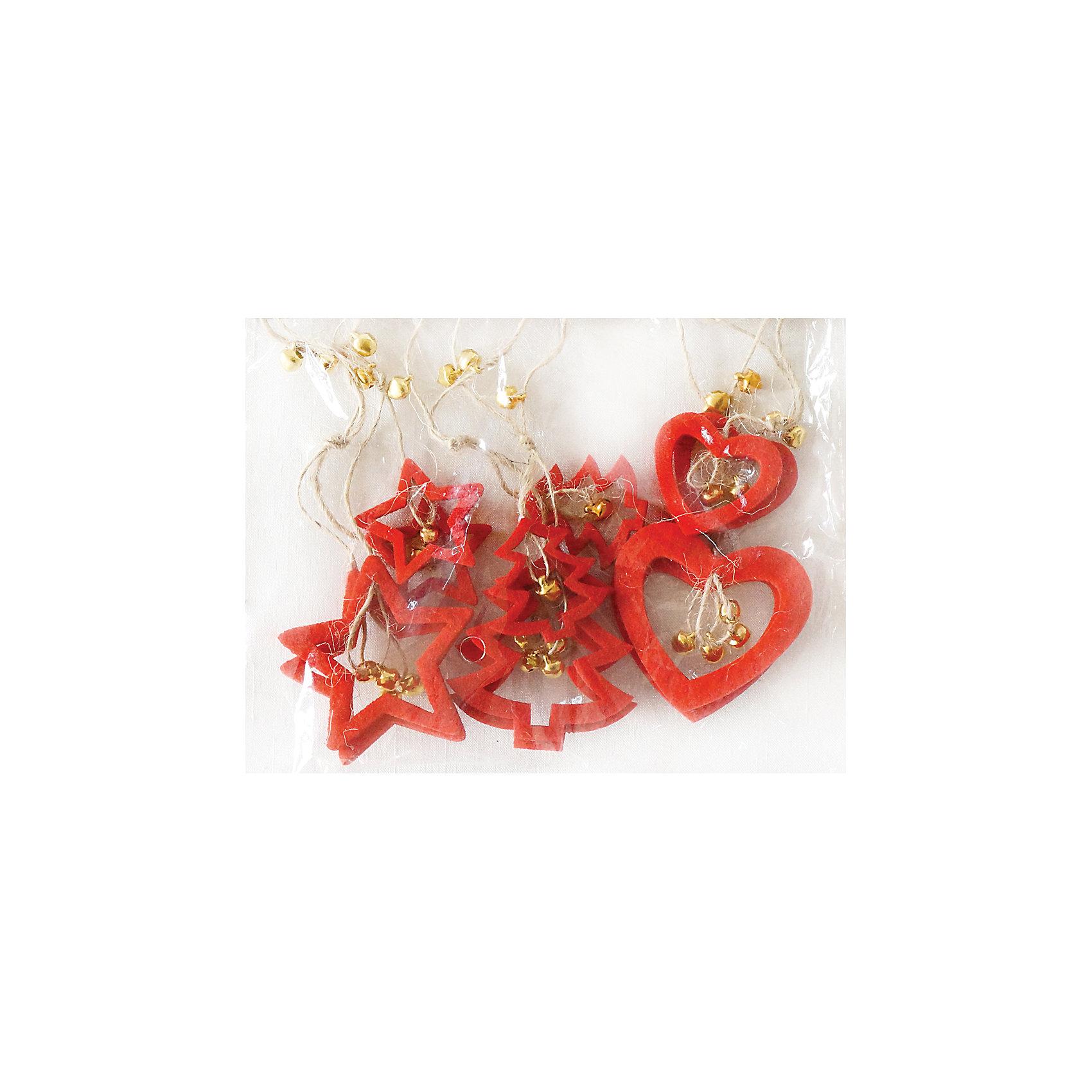 Набор подвесок 9 см, 6 шт, красныеВсё для праздника<br>Набор подвесок  красного цвета украсит ваш интерьер и придаст ему новогоднее настроение.Размер подвески9 см.В наборе 6 шт<br><br>Ширина мм: 160<br>Глубина мм: 165<br>Высота мм: 20<br>Вес г: 11<br>Возраст от месяцев: 36<br>Возраст до месяцев: 420<br>Пол: Унисекс<br>Возраст: Детский<br>SKU: 5078439