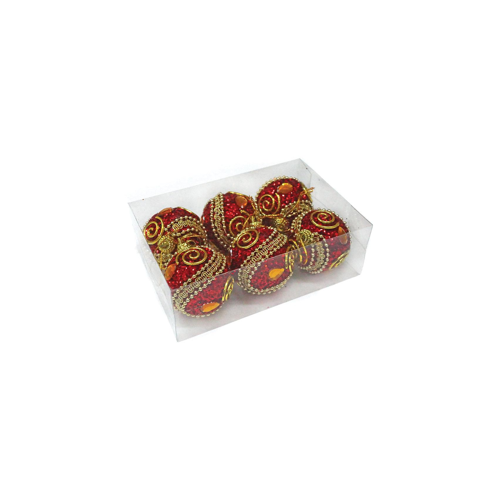 Набор шаров 5 см, 6 шт, красные, пенопластВсё для праздника<br>Набор елочных шаров красного цвета украсит вашу елку и придаст ей новогоднее настроение.Размер украшения 5 см.В наборе 6 шт<br><br>Ширина мм: 145<br>Глубина мм: 100<br>Высота мм: 50<br>Вес г: 56<br>Возраст от месяцев: 36<br>Возраст до месяцев: 420<br>Пол: Унисекс<br>Возраст: Детский<br>SKU: 5078453
