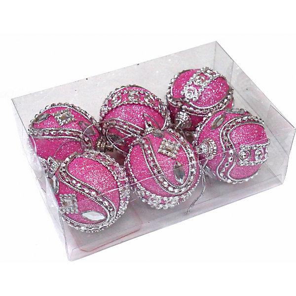 Набор шаров 5 см, 6 шт, розовые, пенопластЁлочные игрушки<br>Набор елочных шаров розового цвета украсит вашу елку и придаст ей новогоднее настроение.Размер украшения 5 см.В наборе 6 шт<br><br>Ширина мм: 145<br>Глубина мм: 95<br>Высота мм: 45<br>Вес г: 55<br>Возраст от месяцев: 36<br>Возраст до месяцев: 420<br>Пол: Унисекс<br>Возраст: Детский<br>SKU: 5078454