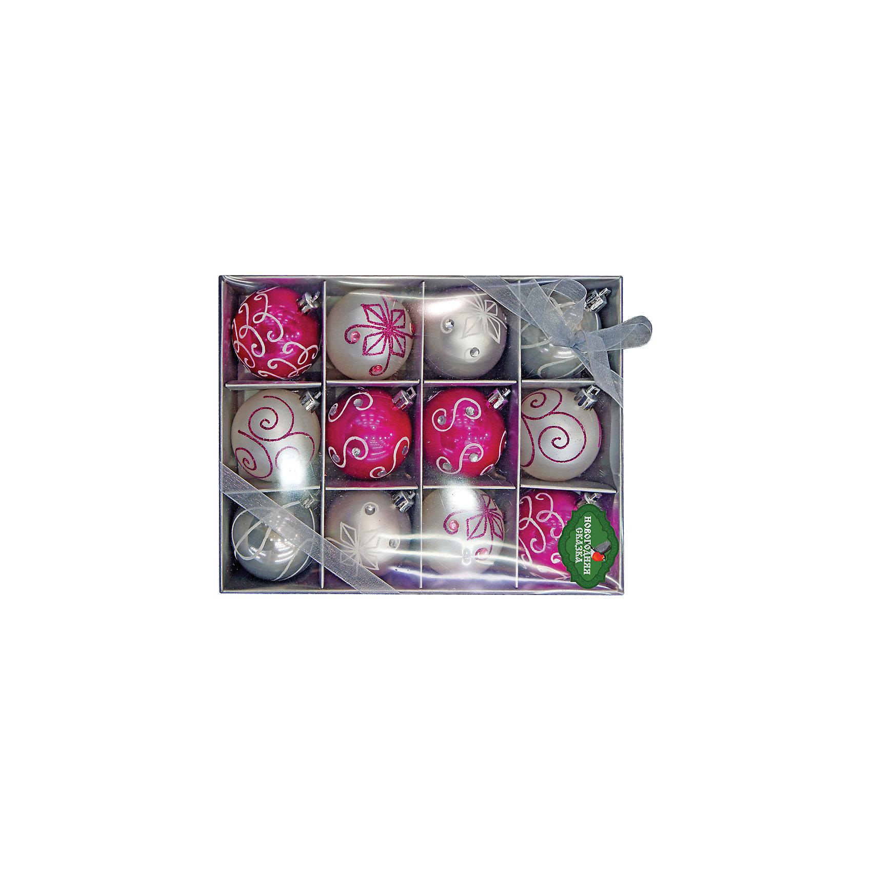 Набор шаров 6 см, 12 шт, серебро, розовыйВсё для праздника<br>Набор разноцветных шаров украсит вашу елку и придаст ей новогоднее настроение.Размер украшения 6 см.В наборе 12 шт<br><br>Ширина мм: 185<br>Глубина мм: 245<br>Высота мм: 55<br>Вес г: 267<br>Возраст от месяцев: 36<br>Возраст до месяцев: 420<br>Пол: Унисекс<br>Возраст: Детский<br>SKU: 5078456
