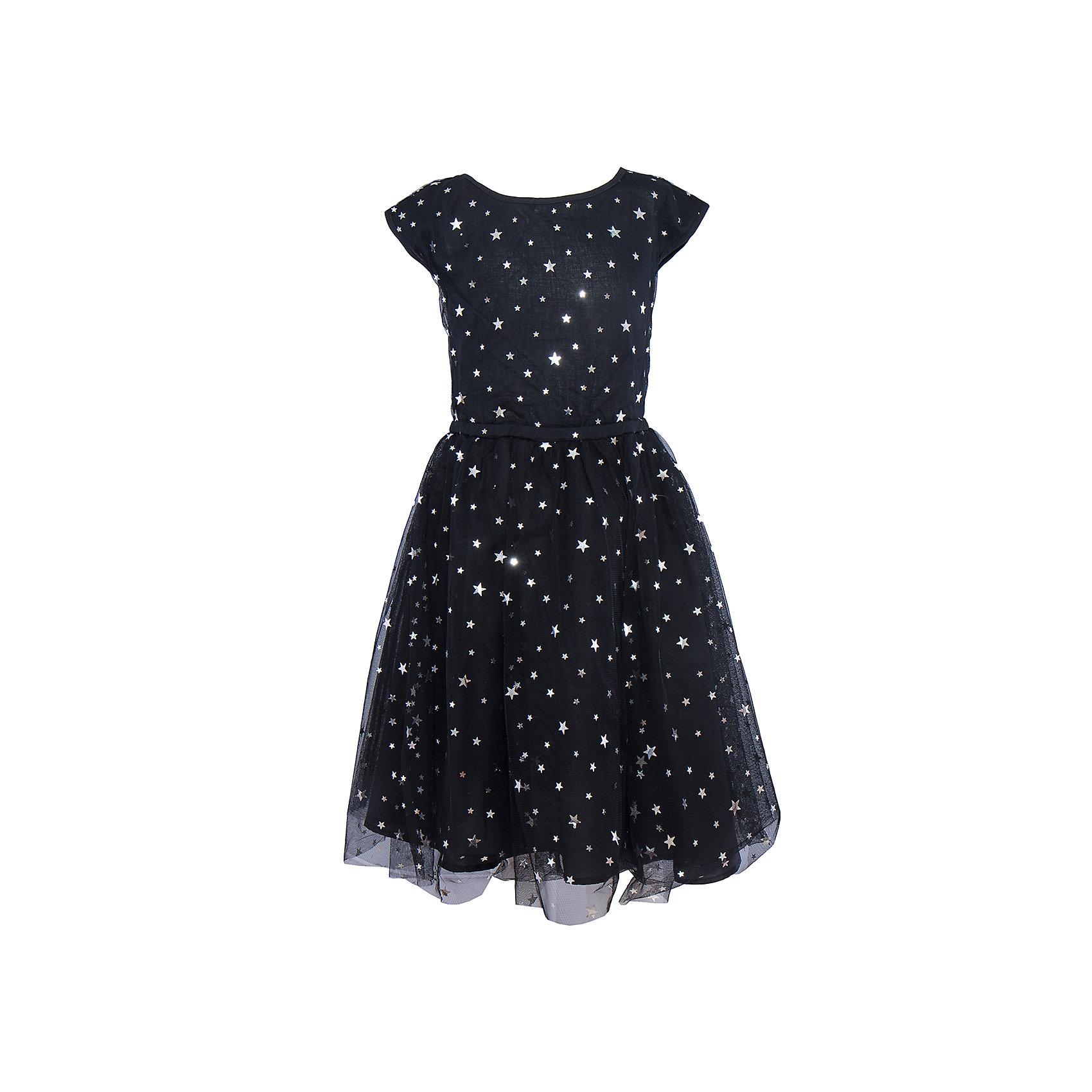 Нарядное платье для девочки ScoolОдежда<br>Характеристики:<br><br>• Вид одежды: праздничное платье<br>• Сезон: круглый год<br>• Материал: полиэстер – 100% (верх); хлопок – 100% (подкладка)<br>• Цвет: черный<br>• Силуэт: А стиль<br>• Длина платья: миди<br>• Рукав: короткий, приспущенный<br>• Вырез горловины: круглый<br>• Застежка: молния<br>• Особенности ухода: ручная стирка без применения отбеливающих средств, глажение при низкой температуре <br><br>Стильное праздничное платье для девочки Scool выполнено из сочетания полиэстера и хлопка. Сетка из полиэстера, придающая платью пышность, легкость и форму, использована для верха, подклад выполнен из 100% хлопка. Платье выполнено в классическом приталенном А силуэте, имеет круглую горловину и слегка приспущенный рукав. Верхняя сетка оформлена россыпью пайеток в форме звездочек. <br>Платье для девочки Scool, – это стиль, качество и элегантность!<br><br>Платье для девочки Scool, можно купить в нашем интернет-магазине.<br><br>Ширина мм: 236<br>Глубина мм: 16<br>Высота мм: 184<br>Вес г: 177<br>Цвет: черный<br>Возраст от месяцев: 96<br>Возраст до месяцев: 108<br>Пол: Женский<br>Возраст: Детский<br>Размер: 134,152,140,146<br>SKU: 5078557