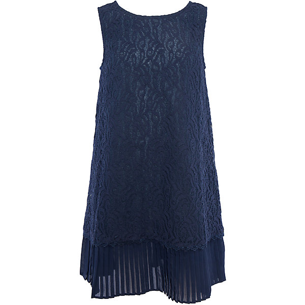 Нарядное платье для девочки ScoolОдежда<br>Характеристики:<br><br>• Вид одежды: праздничное платье<br>• Сезон: круглый год<br>• Материал: верх – 80% хлопок, 20% полиамид, подкладка – 100% хлопок<br>• Цвет: темно-синий<br>• Силуэт: прямой<br>• Длина платья: миди<br>• Рукав: без рукавов<br>• Вырез горловины: круглый<br>• Застежка: молния<br>• Особенности ухода: ручная стирка без применения отбеливающих средств, глажение при низкой температуре <br><br>Scool – это линейка детской одежды и обуви, которая предназначена как для повседневности, так и для праздников. Большинство моделей выполнены в классическом стиле, сочетающем в себе традиции с яркими стильными элементами и аксессуарами. Весь ассортимент одежды и обуви Scool сочетается между собой по стилю и цветовому решению, поэтому Вам будет легко сформировать гардероб вашего ребенка, который отражает его индивидуальность. <br>Платье для девочки Scool с подкладкой выполнено из гипюра темно-синего цвета. Изделие имеет классический крой: прямой силуэт и круглую горловину. Низ изделия декорирован плиссированной отделкой, благодаря чему создается многослойность и объем по низу платья. Сзади на спинке имеется застежка молния. Платье для девочки Scool, – это стиль и элегантность.<br><br>Платье для девочки Scool, можно купить в нашем интернет-магазине.<br><br>Ширина мм: 236<br>Глубина мм: 16<br>Высота мм: 184<br>Вес г: 177<br>Цвет: синий<br>Возраст от месяцев: 96<br>Возраст до месяцев: 108<br>Пол: Женский<br>Возраст: Детский<br>Размер: 134,140,146<br>SKU: 5078569