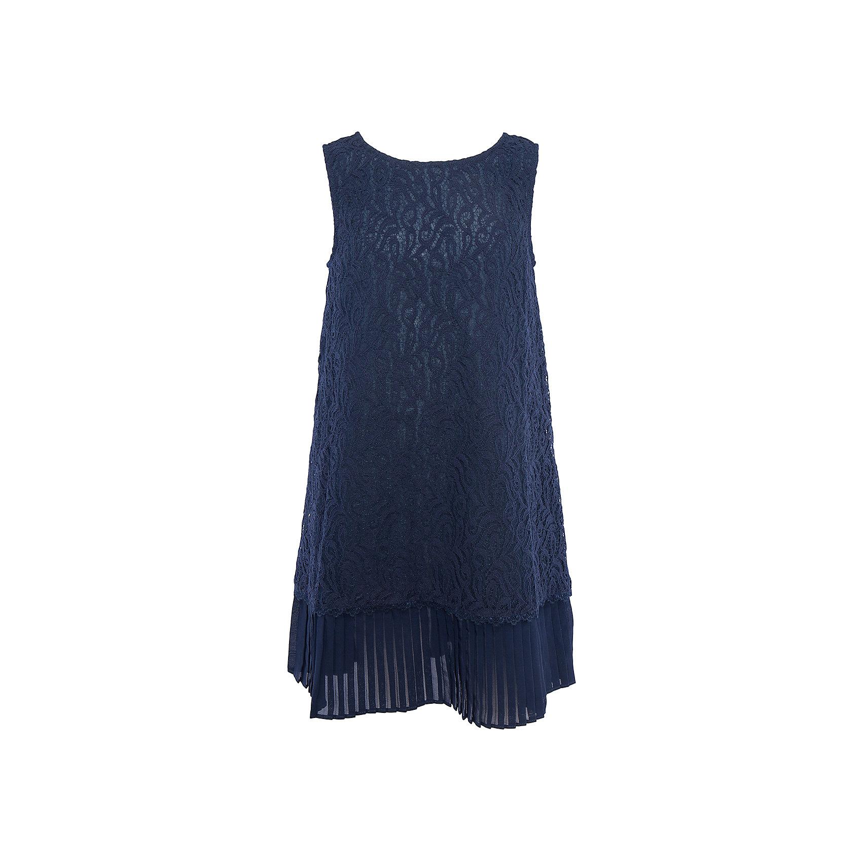 Нарядное платье для девочки ScoolХарактеристики:<br><br>• Вид одежды: праздничное платье<br>• Сезон: круглый год<br>• Материал: верх – 80% хлопок, 20% полиамид, подкладка – 100% хлопок<br>• Цвет: темно-синий<br>• Силуэт: прямой<br>• Длина платья: миди<br>• Рукав: без рукавов<br>• Вырез горловины: круглый<br>• Застежка: молния<br>• Особенности ухода: ручная стирка без применения отбеливающих средств, глажение при низкой температуре <br><br>Scool – это линейка детской одежды и обуви, которая предназначена как для повседневности, так и для праздников. Большинство моделей выполнены в классическом стиле, сочетающем в себе традиции с яркими стильными элементами и аксессуарами. Весь ассортимент одежды и обуви Scool сочетается между собой по стилю и цветовому решению, поэтому Вам будет легко сформировать гардероб вашего ребенка, который отражает его индивидуальность. <br>Платье для девочки Scool с подкладкой выполнено из гипюра темно-синего цвета. Изделие имеет классический крой: прямой силуэт и круглую горловину. Низ изделия декорирован плиссированной отделкой, благодаря чему создается многослойность и объем по низу платья. Сзади на спинке имеется застежка молния. Платье для девочки Scool, – это стиль и элегантность.<br><br>Платье для девочки Scool, можно купить в нашем интернет-магазине.<br><br>Ширина мм: 236<br>Глубина мм: 16<br>Высота мм: 184<br>Вес г: 177<br>Цвет: синий<br>Возраст от месяцев: 96<br>Возраст до месяцев: 108<br>Пол: Женский<br>Возраст: Детский<br>Размер: 134,146,140<br>SKU: 5078569