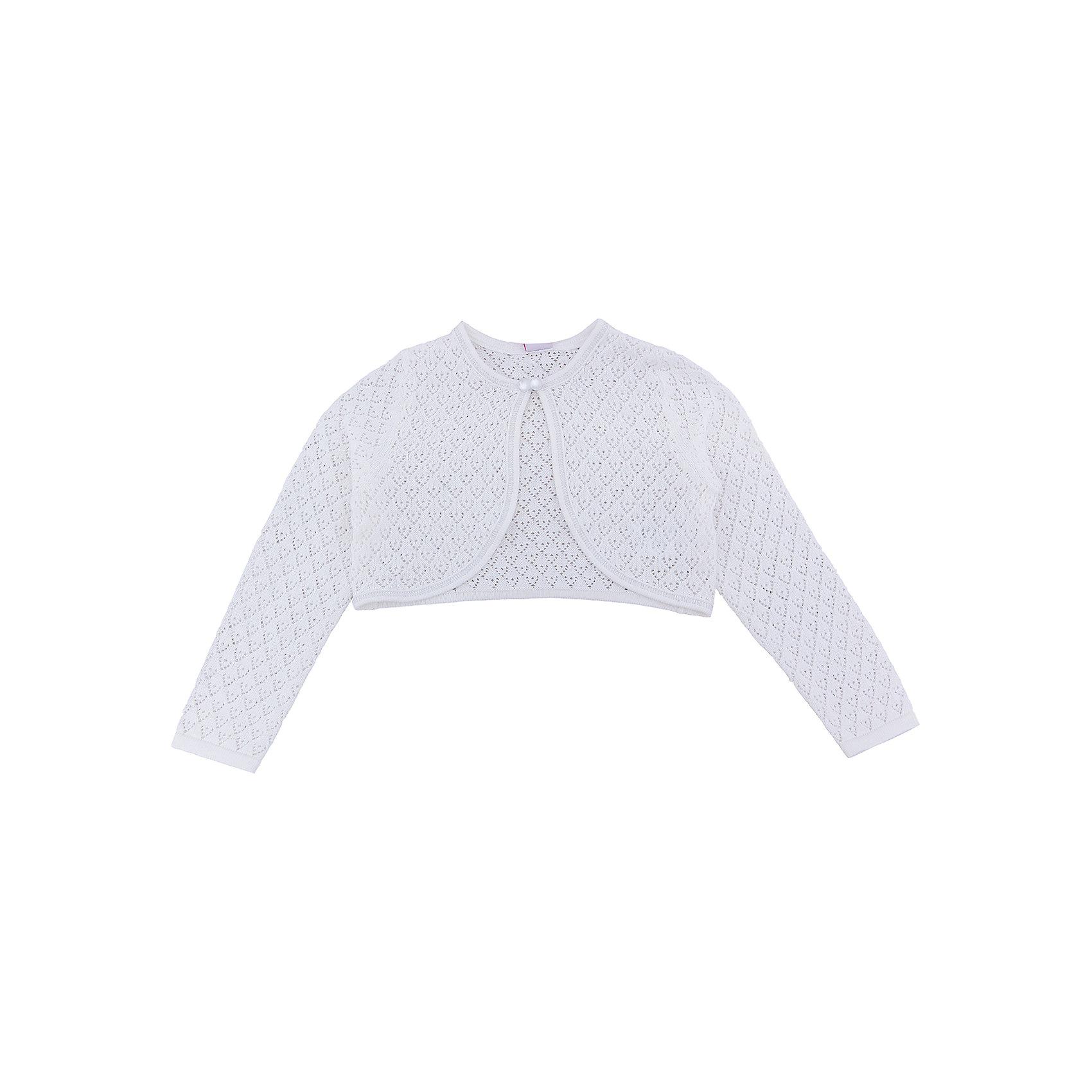 Болеро для девочки SELAЖакет для девочки SELA<br><br>Характеристики:<br><br>• Цвет молочный.<br>• Рукав длинный.<br>• Силуэт прямой.<br>• Состав:100% хлопок.<br><br><br>Жакет для девочки от признанного лидера по созданию коллекций одежды в стиле casual - SELA. Нарядный жакет из хлопкового трикотажа молочного цвета станет украшением гардероба маленькой модницы . Ажурная вязка, закругленные полы, нарядная пуговка- застежка не оставят вашу девочку равнодушной.Натуральный хлопок в составе изделия делает его дышащим, приятным на ощупь и гипоаллергенным. В таком жакете девочка будет выглядеть стильно и нарядно!<br><br>Жакет для девочки SELA, можно купить в нашем интернет - магазине.<br><br>Ширина мм: 190<br>Глубина мм: 74<br>Высота мм: 229<br>Вес г: 236<br>Цвет: белый<br>Возраст от месяцев: 24<br>Возраст до месяцев: 36<br>Пол: Женский<br>Возраст: Детский<br>Размер: 98,104,110,116,92<br>SKU: 5078928