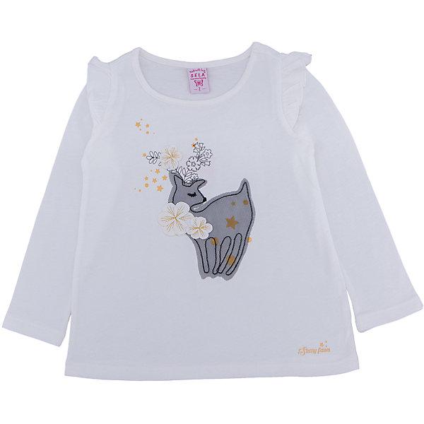Футболка с длинным рукавом для девочки SELAФутболки с длинным рукавом<br>Лонгслив для девочки SELA<br><br>Характеристики:<br><br>- Цвет: молочный.<br>- Силуэт: свободный.<br>- Состав: 100% хлопок.<br><br><br>Лонгслив для девочки от признанного лидера по созданию коллекций одежды в стиле casual – SELA. Стильный лонгслив молочного цвета украшен золотистым принтом, а также нежной аппликацией. Рукава декорированы «крылышками». Изделие выполнено из высококачественного натурального хлопка, дышащего, очень мягкого и приятного к телу.<br>В таком лонгсливе ваша девочка будет чувствовать себя комфортно и тепло, при этом будет выглядеть стильно и модно!<br><br>Лонгслив для девочки SELA, можно купить в нашем интернет - магазине.<br><br>Ширина мм: 190<br>Глубина мм: 74<br>Высота мм: 229<br>Вес г: 236<br>Цвет: белый<br>Возраст от месяцев: 60<br>Возраст до месяцев: 72<br>Пол: Женский<br>Возраст: Детский<br>Размер: 116,92,110,104,98<br>SKU: 5079036