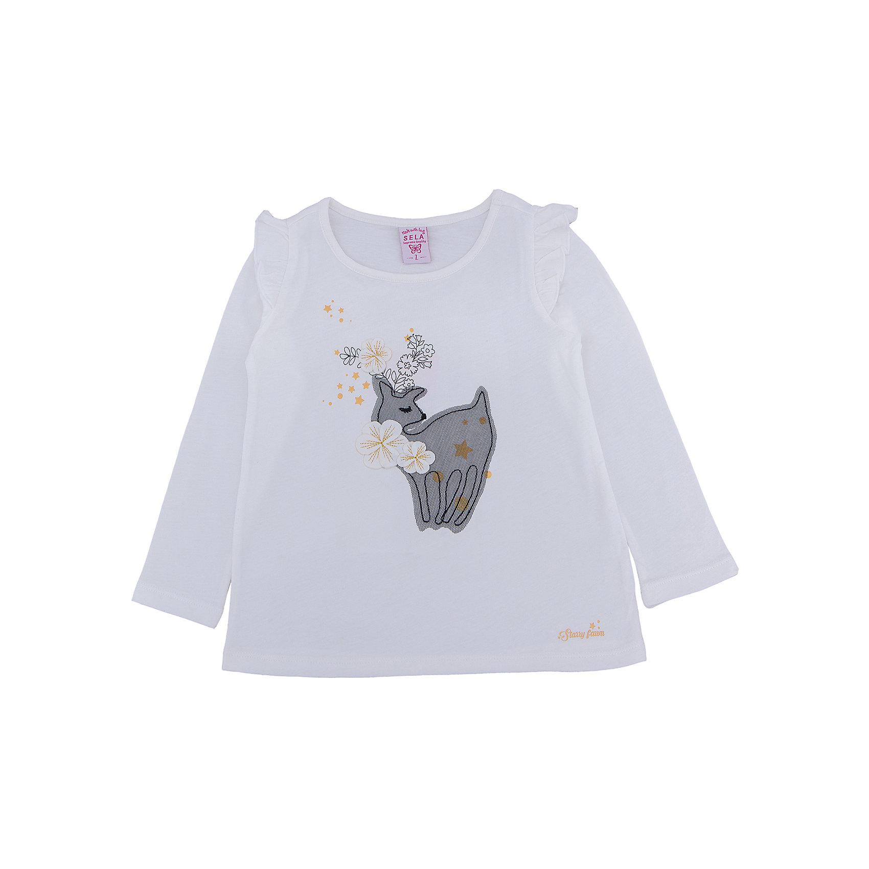 Футболка с длинным рукавом для девочки SELAФутболки с длинным рукавом<br>Лонгслив для девочки SELA<br><br>Характеристики:<br><br>- Цвет: молочный.<br>- Силуэт: свободный.<br>- Состав: 100% хлопок.<br><br><br>Лонгслив для девочки от признанного лидера по созданию коллекций одежды в стиле casual – SELA. Стильный лонгслив молочного цвета украшен золотистым принтом, а также нежной аппликацией. Рукава декорированы «крылышками». Изделие выполнено из высококачественного натурального хлопка, дышащего, очень мягкого и приятного к телу.<br>В таком лонгсливе ваша девочка будет чувствовать себя комфортно и тепло, при этом будет выглядеть стильно и модно!<br><br>Лонгслив для девочки SELA, можно купить в нашем интернет - магазине.<br><br>Ширина мм: 190<br>Глубина мм: 74<br>Высота мм: 229<br>Вес г: 236<br>Цвет: белый<br>Возраст от месяцев: 60<br>Возраст до месяцев: 72<br>Пол: Женский<br>Возраст: Детский<br>Размер: 116,92,98,104,110<br>SKU: 5079036
