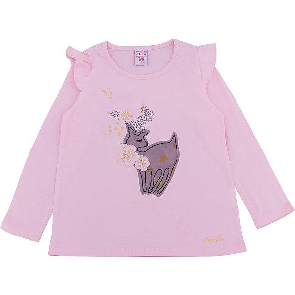 Футболка с длинным рукавом для девочки SELAФутболки с длинным рукавом<br>Лонгслив для девочки SELA<br><br>Характеристики:<br><br>- Цвет: розовый.<br>- Силуэт: расширенный к низу.<br>- Состав: 100% хлопок.<br><br><br>Лонгслив для девочки от признанного лидера по созданию коллекций одежды в стиле casual – SELA. Стильный лонгслив розового цвета украшен золотистым принтом, а также нежной аппликацией. Рукава декорированы «крылышками». Изделие выполнено из высококачественного натурального хлопка, дышащего, очень мягкого и приятного к телу.<br>В таком лонгсливе ваша девочка будет чувствовать себя комфортно и тепло, при этом будет выглядеть стильно и модно!<br><br>Лонгслив для девочки SELA, можно купить в нашем интернет - магазине.<br>Ширина мм: 190; Глубина мм: 74; Высота мм: 229; Вес г: 236; Цвет: розовый; Возраст от месяцев: 24; Возраст до месяцев: 36; Пол: Женский; Возраст: Детский; Размер: 98,92,116,110,104; SKU: 5079042;
