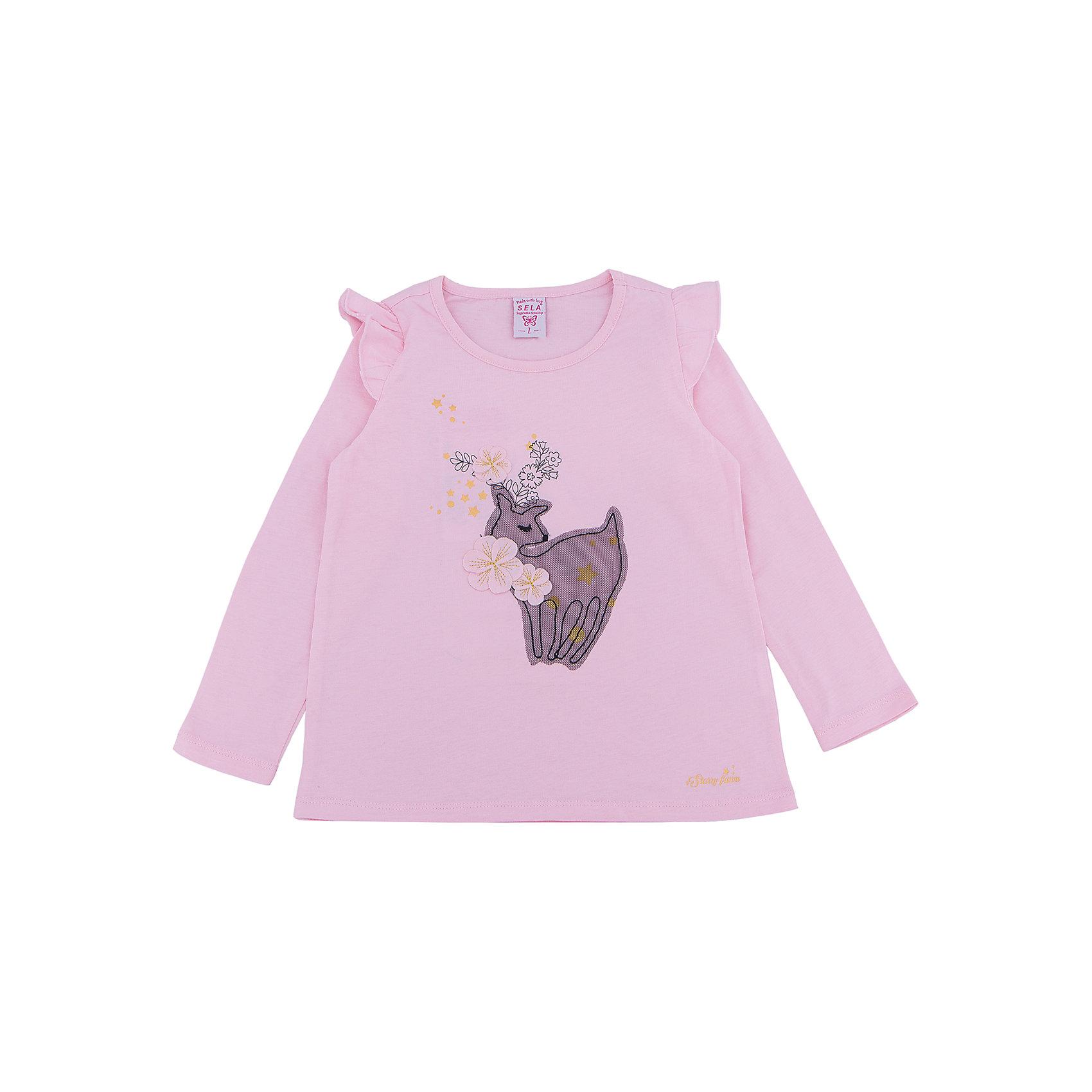 Футболка с длинным рукавом для девочки SELAЛонгслив для девочки SELA<br><br>Характеристики:<br><br>- Цвет: розовый.<br>- Силуэт: расширенный к низу.<br>- Состав: 100% хлопок.<br><br><br>Лонгслив для девочки от признанного лидера по созданию коллекций одежды в стиле casual – SELA. Стильный лонгслив розового цвета украшен золотистым принтом, а также нежной аппликацией. Рукава декорированы «крылышками». Изделие выполнено из высококачественного натурального хлопка, дышащего, очень мягкого и приятного к телу.<br>В таком лонгсливе ваша девочка будет чувствовать себя комфортно и тепло, при этом будет выглядеть стильно и модно!<br><br>Лонгслив для девочки SELA, можно купить в нашем интернет - магазине.<br><br>Ширина мм: 190<br>Глубина мм: 74<br>Высота мм: 229<br>Вес г: 236<br>Цвет: розовый<br>Возраст от месяцев: 60<br>Возраст до месяцев: 72<br>Пол: Женский<br>Возраст: Детский<br>Размер: 116,92,98,104,110<br>SKU: 5079042
