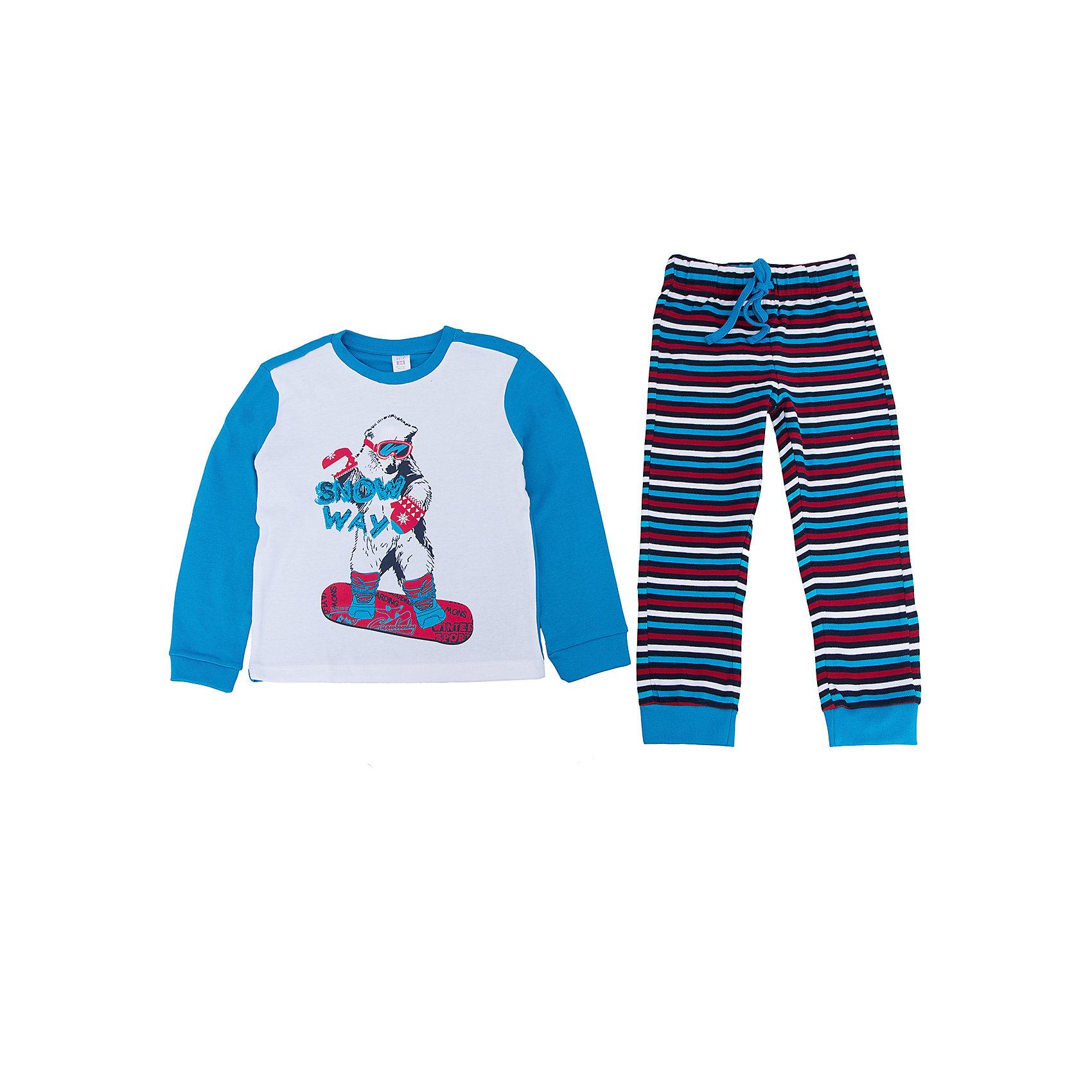 Пижама для мальчика SELAПижамы и сорочки<br>Пижама для мальчика SELA<br><br>Характеристики:<br><br>- Цвет: синий, разноцветный. <br>- Мягкий, приятный на ощупь материал. <br>- Округлый вырез горловины.<br>- Стильный принт. <br>- Длинный рукав.<br>- Состав: 100% хлопок.<br><br>Удобная пижама - неотъемлемая составляющая комфортного сна ребенка. Эта модель отлично сидит на мальчике, она сшита из приятного на ощупь материала, мягкая и дышащая. Натуральный хлопок в составе ткани не вызывает аллергии и обеспечивает ребенку комфорт. В наборе - футболка с длинным рукавом и штаны с широкими манжетами. Пояс на штанишках на мягкой резинке, дополнительно затягивается на шнурок. Пижама украшена симпатичным принтом.<br>Одежда от бренда Sela (Села) - это качество по приемлемым ценам. Многие российские родители уже оценили преимущества продукции этой компании и всё чаще приобретают одежду и аксессуары Sela.<br><br>Пижаму для мальчика SELA, можно купить в нашем интернет-магазине.<br><br>Ширина мм: 281<br>Глубина мм: 70<br>Высота мм: 188<br>Вес г: 295<br>Цвет: синий<br>Возраст от месяцев: 18<br>Возраст до месяцев: 24<br>Пол: Мужской<br>Возраст: Детский<br>Размер: 92/98,140/146,104/110,116/122,128/134<br>SKU: 5079116