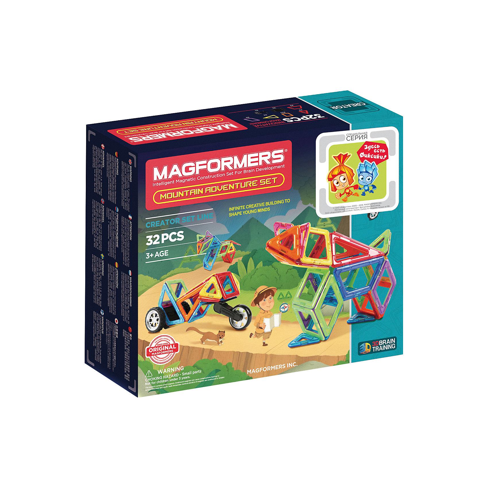Магнитный конструктор Adventure Mountain, MAGFORMERSМагнитные конструкторы<br>Характеристики товара:<br><br>- цвет: разноцветный;<br>- материал: магнит, пластик;<br>- деталей: 32;<br>- комплектация: детали конструктора, упаковка.<br><br>Конструкторы могут не только развлекать ребенка, но и помогать его всестороннему развитию. Этот набор предназначен для формирования разных навыков, он помогает развить тактильное восприятие, мелкую моторику, воображение, внимание и логику.<br>Изделие представляет собой набор из 35 магнитных деталей разных форм, с помощью которых можно сделать различные конструкции. Конструктор из магнитных деталей очень нравится детям! С таким набором можно придумать множество игр! Изделие произведено из качественных материалов, безопасных для ребенка.<br><br>Магнитный конструктор Adventure Mountain, от бренда MAGFORMERS можно купить в нашем интернет-магазине.<br><br>Ширина мм: 245<br>Глубина мм: 290<br>Высота мм: 80<br>Вес г: 988<br>Возраст от месяцев: 36<br>Возраст до месяцев: 2147483647<br>Пол: Унисекс<br>Возраст: Детский<br>SKU: 5082418