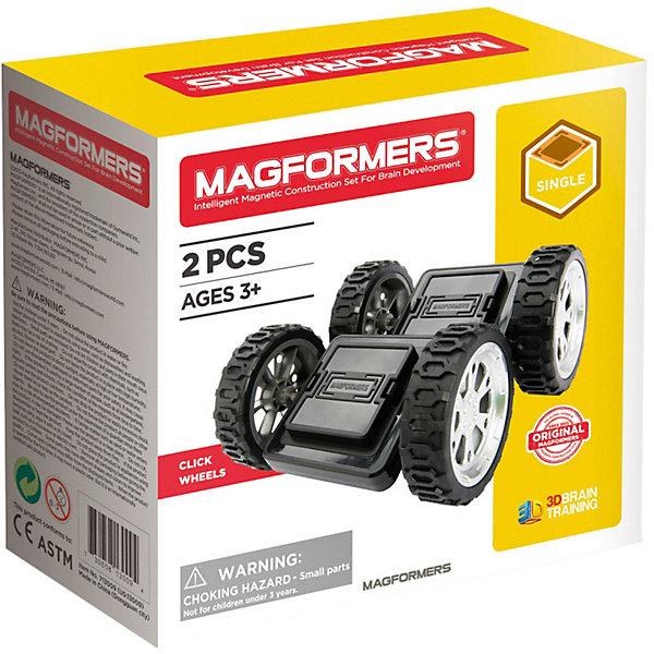 Магнитный конструктор Click Wheels, MAGFORMERSМагнитные конструкторы<br>Характеристики товара:<br><br>- цвет: черный;<br>- материал: магнит, пластик;<br>- деталей: 2;<br>- дополнение к конструктору.<br><br>Конструкторы могут не только развлекать ребенка, но и помогать его всестороннему развитию. Наборы MAGFORMERS предназначены для формирования разных навыков, он помогает развить тактильное восприятие, мелкую моторику, воображение, внимание и логику.<br>Данное изделие представляет собой дополнение в виде колес к другим наборам MAGFORMERS. Конструктор из магнитных деталей очень нравится детям! С таким набором можно придумать множество игр! Изделие произведено из качественных материалов, безопасных для ребенка.<br><br>Магнитный конструктор Click Wheels, от бренда MAGFORMERS можно купить в нашем интернет-магазине.<br>Ширина мм: 135; Глубина мм: 140; Высота мм: 65; Вес г: 273; Возраст от месяцев: 36; Возраст до месяцев: 2147483647; Пол: Унисекс; Возраст: Детский; SKU: 5082420;