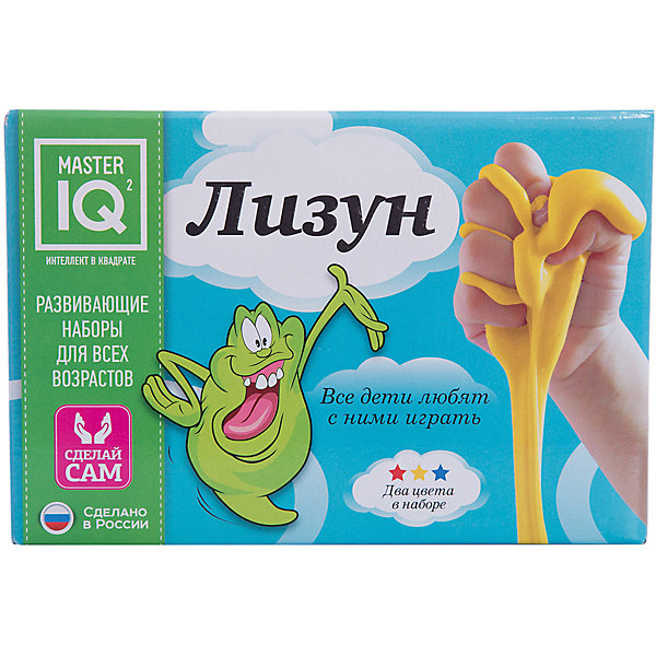 ЛизунХимия и физика<br>Характеристики:<br><br>• размер: 18х10х12 см.;<br>• в набор входит: стаканчик, защитные перчатки, активатор, пищевой полимер (раствор), пищевые красители (2 цвета), глицерин, пипетки;<br>• состав: пищевые полимеры, пищевые красители, активатор, пластик;<br>• вес: 146 г.;<br>• для детей в возрасте: от 8 лет;<br>• страна производитель: Россия.<br><br>Этот необычный развивающий набор от Master IQ (Мастер АйКью) поможет почувствовать себя настоящим создателем. Специальные химические элементы набора формируются в желеобразный материал при контакте с водой. <br><br>В набор входят безопасные красители, которые позволят ребёнку выбрать цвет лизуна – синий, жёлтый или зелёный. Лизун выглядит так, будто сделан из желеобразного мармелада, приятная текстура отлично мнётся и не прилипает к рукам. Проводить такие химические опыты несложно и увлекательно. <br><br>Набор «Лизун» можно купить в нашем интернет-магазине.<br><br>Ширина мм: 182<br>Глубина мм: 100<br>Высота мм: 122<br>Вес г: 260<br>Возраст от месяцев: 96<br>Возраст до месяцев: 180<br>Пол: Унисекс<br>Возраст: Детский<br>SKU: 5083834