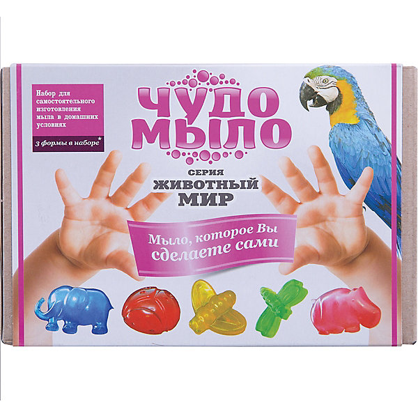Чудо-Мыло Животный мирНаборы для создания мыла<br>Характеристики:<br><br>• размер: 19x11x13см.;<br>• в набор входит: прозрачная мыльная основа, красители и ароматизатор, керамическая чаша, перчатки, палочки, формы для мыла 3 шт.;<br>• вес: 400 г.;<br>• для детей в возрасте: от 8 лет;<br>• страна производитель: Россия.<br><br>Этот удивительный набор от Master IQ2 (Мастер АйКью2) позволит перенестись на какое-то время в необычайный мир мыловарения. Вместе с простой пошаговой инструкцией ребёнок легко может сделать красивое мыло в виде животных самостоятельно. Благодаря этому интересному набору ребёнок может изготовить мыло в виде слонёнка, божьей коровки, стрекозы или бегемота.<br><br> Набор для изготовления мыла станет отличным помощником в сфере художественного развития и прекрасно подойдёт для развития моторики рук, усидчивости, аккуратности. Кроме того, задание повышает самооценку, ведь ребёнок смог сам сделать это красивое мыло.<br><br>Чудо-Мыло Животный мир (малый набор) можно купить в нашем интернет-магазине.<br>Ширина мм: 182; Глубина мм: 122; Высота мм: 102; Вес г: 476; Возраст от месяцев: 96; Возраст до месяцев: 180; Пол: Унисекс; Возраст: Детский; SKU: 5083856;
