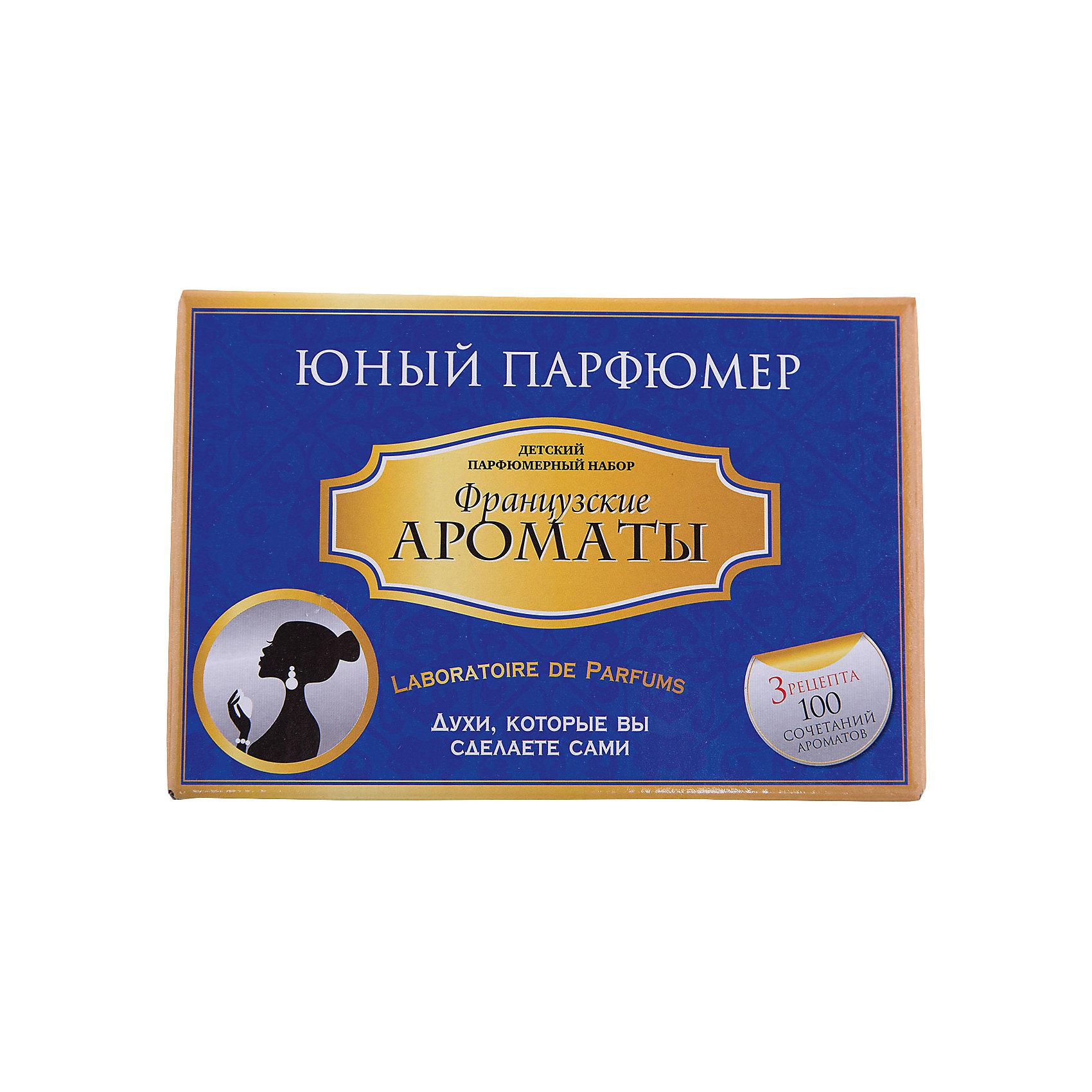 Набор Юный Парфюмер Французские ароматыНаборы для создания парфюмерии<br>Характеристики:<br><br>• размер: 20x13x12см.;<br>• в набор входит: 7 видов парфюмерного масла, полисорбат, пробирки стеклянные, фиолки пустые, флакон-роллер, полоски - тестер, пипетки Пастера;<br>• состав: парфюмерное масло, стекло;<br>• вес: 280 г.;<br>• для детей в возрасте: от 8 лет;<br>• страна производитель: Россия.<br><br>Этот необычный набор от производителя Master IQ2 (Мастер АйКью2) поможет ребенку открыть для себя новый вид искусства - парфюмерию. Вместе с этим набором можно научиться создавать собственные запахи, различать их между собой и даже обрести свой собственный неповторимый образ. С помощью семи парфюмерных масел можно создавать неповторимые комбинации.<br><br>Благодаря парфюмерному набору ребёнок научится правильно подбирать духи, узнает некоторые особенности ароматической композиции и познакомится с историей возникновения парфюмерии. Именно этот набор познакомит более подробно с такими элегантными французскими ароматами, в состав которых вошли: нероли, бергамот, ваниль, пачули, миндаль, роза и сандал.<br><br>Набор Юный Парфюмер Французские ароматы можно купить в нашем интернет-магазине.<br><br>Ширина мм: 182<br>Глубина мм: 102<br>Высота мм: 120<br>Вес г: 285<br>Возраст от месяцев: 96<br>Возраст до месяцев: 180<br>Пол: Женский<br>Возраст: Детский<br>SKU: 5083868