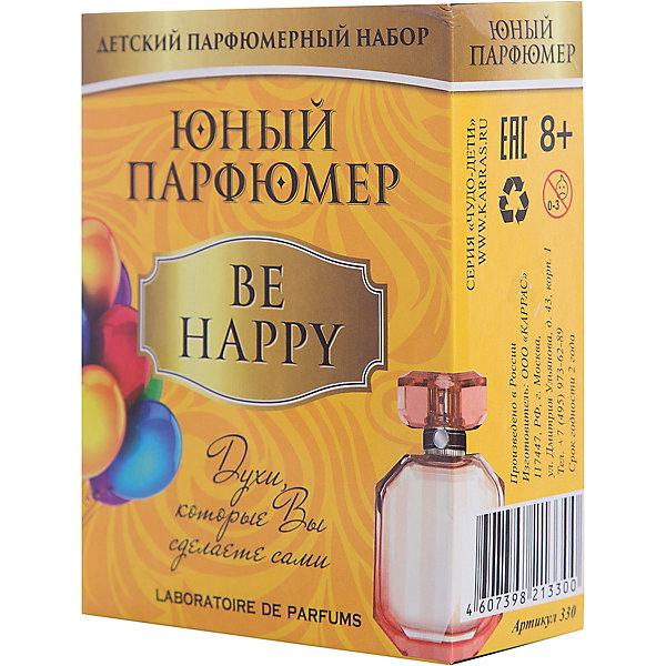 Набор Юный Парфюмер (мини) BE HAPPYНаборы для создания парфюмерии<br>Характеристики:<br><br>• размер: 12x5x15см.;<br>• в набор входит: 3 вида парфюмерного масла, полисорбат, пробирки стеклянные, фиолки пустые, флакон-роллер, полоски - тестер, пипетки Пастера;<br>• состав: парфюмерное масло, стекло;<br>• вес: 120 г.;<br>• для детей в возрасте: от 8 лет;<br>• страна производитель: Россия.<br><br>Этот необычный набор от производителя Master IQ2 (Мастер АйКью2) поможет ребенку открыть для себя новый вид искусства - парфюмерию. Вместе с этим набором можно научиться создавать собственные запахи, различать их между собой и даже обрести свой собственный образ. С помощью семи парфюмерных масел можно создавать понравившиеся комбинации.<br><br>Благодаря парфюмерному набору ребёнок научится правильно подбирать духи, узнает некоторые особенности ароматической композиции и познакомится с историей возникновения парфюмерии. Именно этот набор познакомит более подробно с приятными ароматами, в состав которых вошли: бергамот, нероли, ваниль.<br><br>Набор Юный Парфюмер (мини) BE HAPPY (Би Хэппи) можно купить в нашем интернет-магазине.<br><br>Ширина мм: 120<br>Глубина мм: 50<br>Высота мм: 150<br>Вес г: 120<br>Возраст от месяцев: 96<br>Возраст до месяцев: 180<br>Пол: Женский<br>Возраст: Детский<br>SKU: 5083874