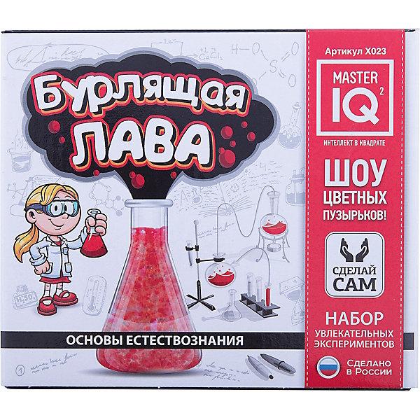 Бурлящая лаваХимия и физика<br>Характеристики:<br><br>• размер: 16,5х9х14,5см.;<br>• в набор входит: лимонная кислота, гидрокарбонат натрия, банка с крышкой, масло, краситель, стаканчик, перчатки, инструкция.;<br>• вес: 120 г.;<br>• для детей в возрасте: от 8 лет;<br>• страна производитель: Россия.<br><br>Вместе с этим замечательным набором от производителя Master IQ2 (Мастер АйКью2) ребёнок познакомится с химическими опытами и экспериментами, а также сможет самостоятельно их выполнить. В этой домашней лаборатории можно сконструировать извержение вулкана и просмотреть типичные вулканические процессы. Этот набор поможет в игровой форме исследовать физические процессы, расширить кругозор, творческие способности, моторику рук и аккуратность<br><br>Набор «Бурлящая лава» можно купить в нашем интернет-магазине.<br><br>Ширина мм: 165<br>Глубина мм: 90<br>Высота мм: 145<br>Вес г: 327<br>Возраст от месяцев: 96<br>Возраст до месяцев: 180<br>Пол: Унисекс<br>Возраст: Детский<br>SKU: 5083890