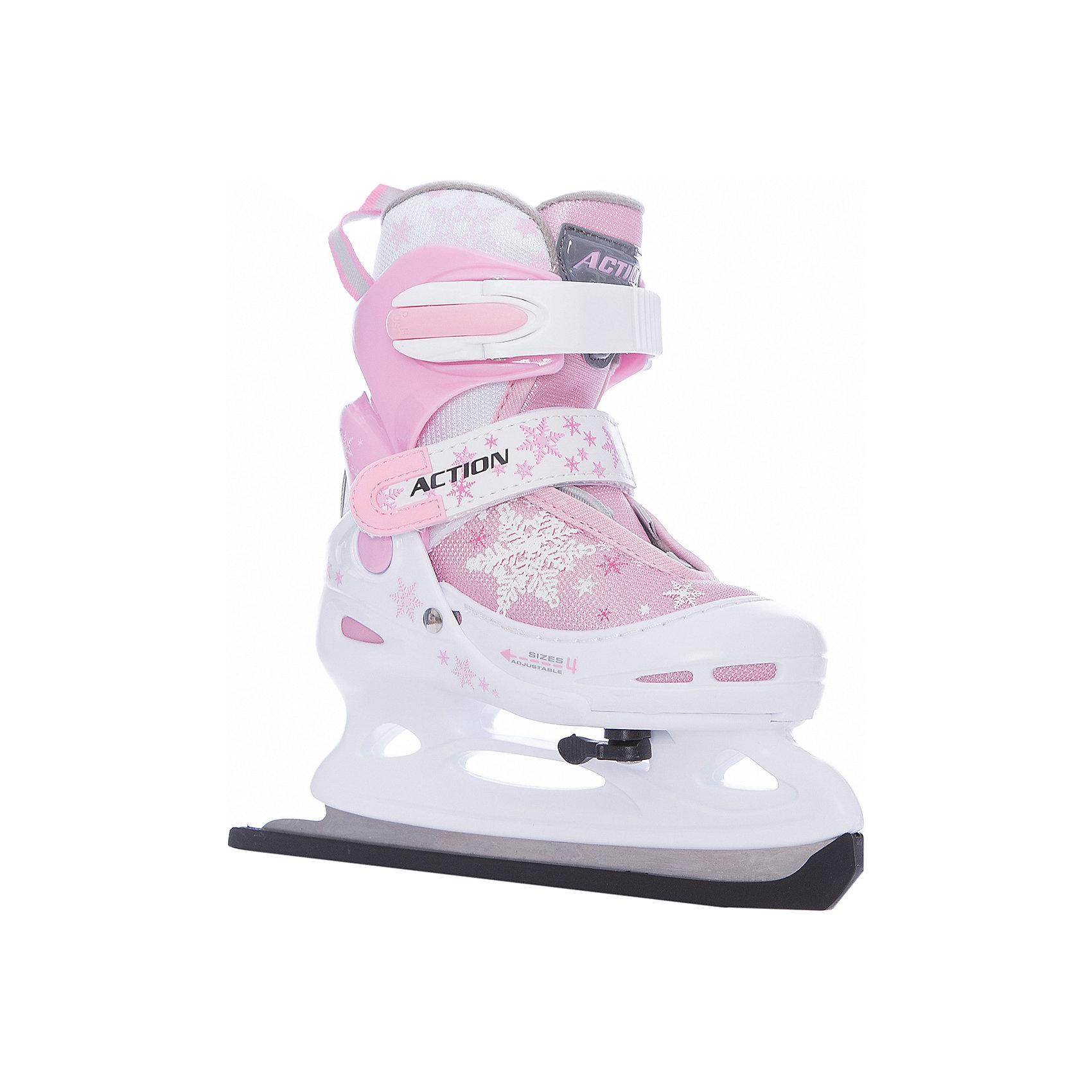 - Коньки ледовые раздвижные PW-211F-1, розовый/белый коньки ледовые женские action sporting goods раздвижные цвет белый красный pw 113 размер 37 40